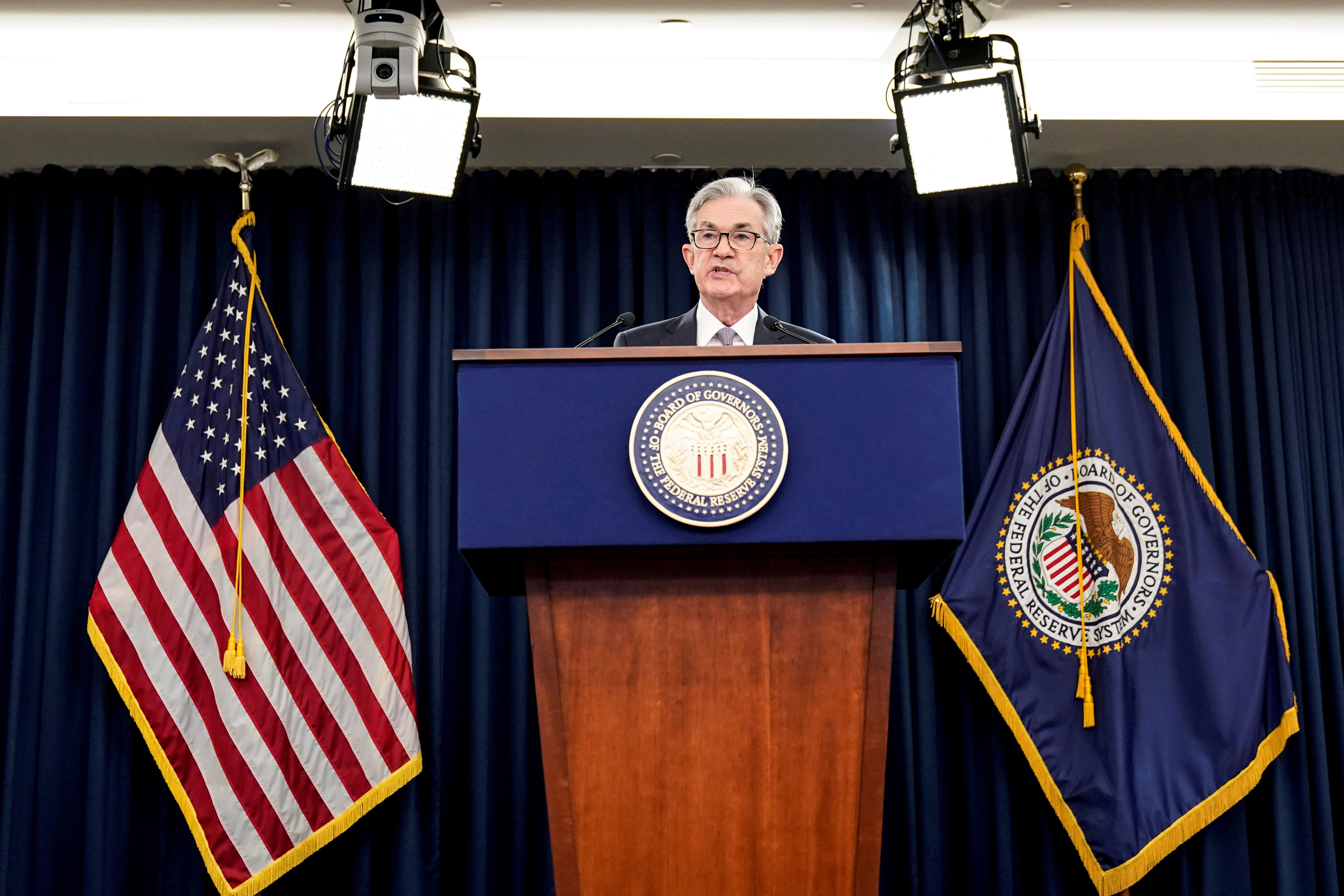Federal Reserve Chair Jerome Powell holds a news conference following the Federal Open Market Committee meeting in Washington, U.S., December 11, 2019. REUTERS/Joshua Roberts