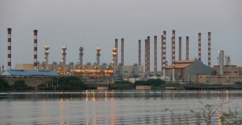 A general view of Abadan oil refinery in southwest Iran, is pictured from Iraqi side of Shatt al-Arab in Al-Faw south of Basra, Iraq September 21, 2019. REUTERS/Essam Al-Sudani/File Photo