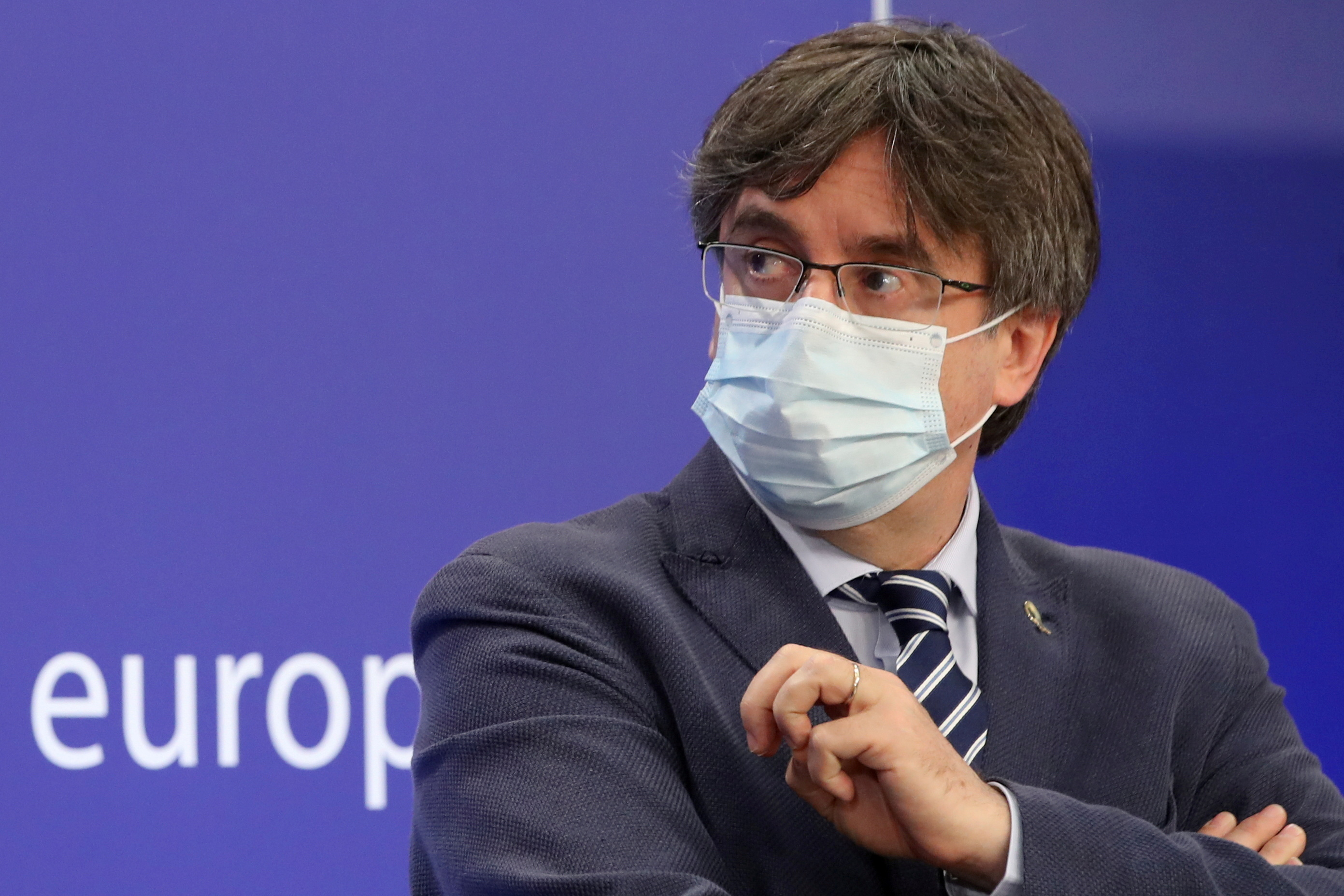 Catalan MEP Carles Puigdemont looks on during a joint news conference with Catalan MEPs Antoni Comin and Clara Ponsati regarding their immunity at the European Parliament, in Brussels, Belgium June 3, 2021. REUTERS/Yves Herman