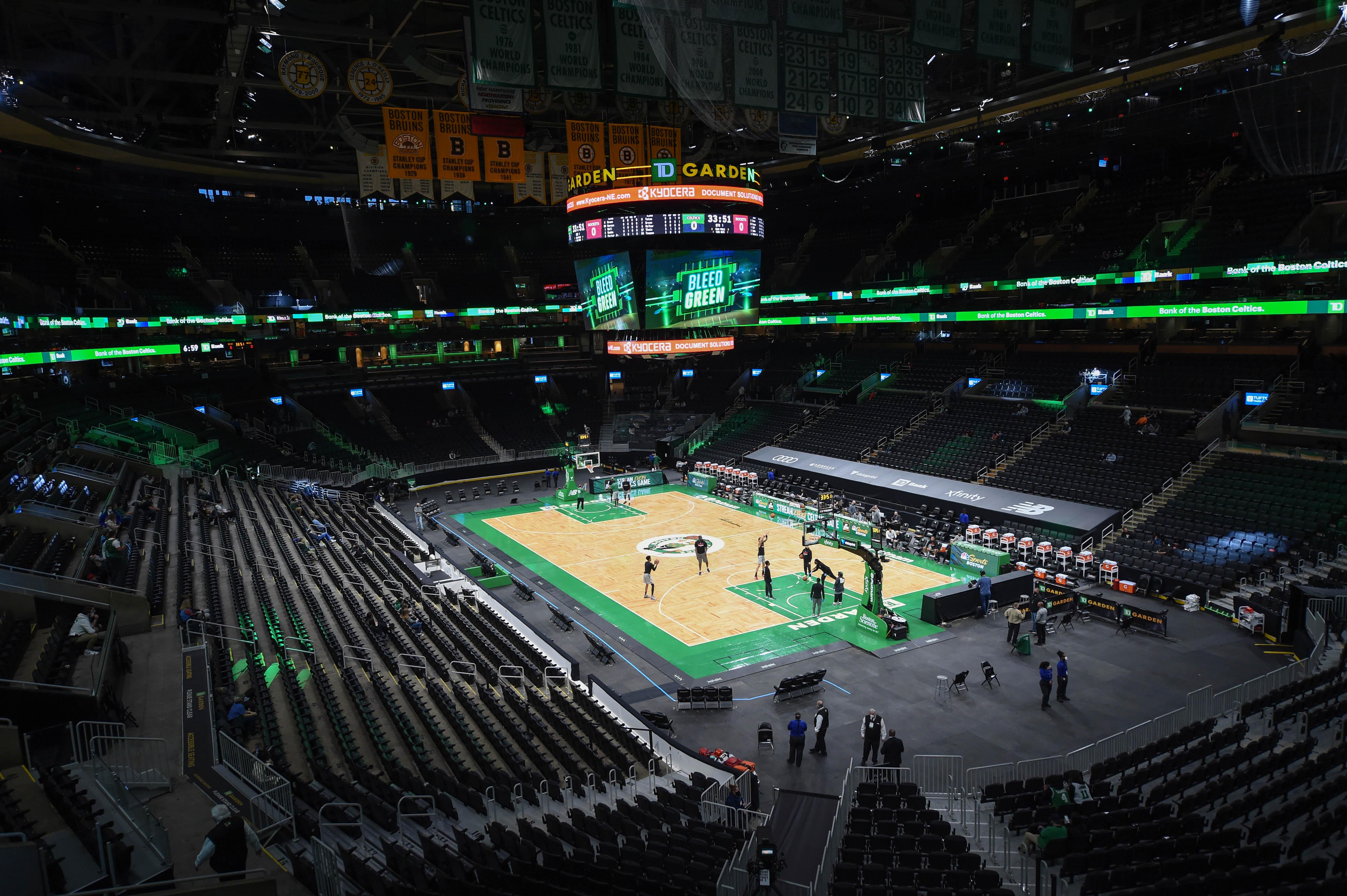 Apr 2, 2021; Boston, Massachusetts, USA;  Members of the Houston Rockets warmup prior to a game against the Boston Celtics at TD Garden. Mandatory Credit: Bob DeChiara-USA TODAY Sports