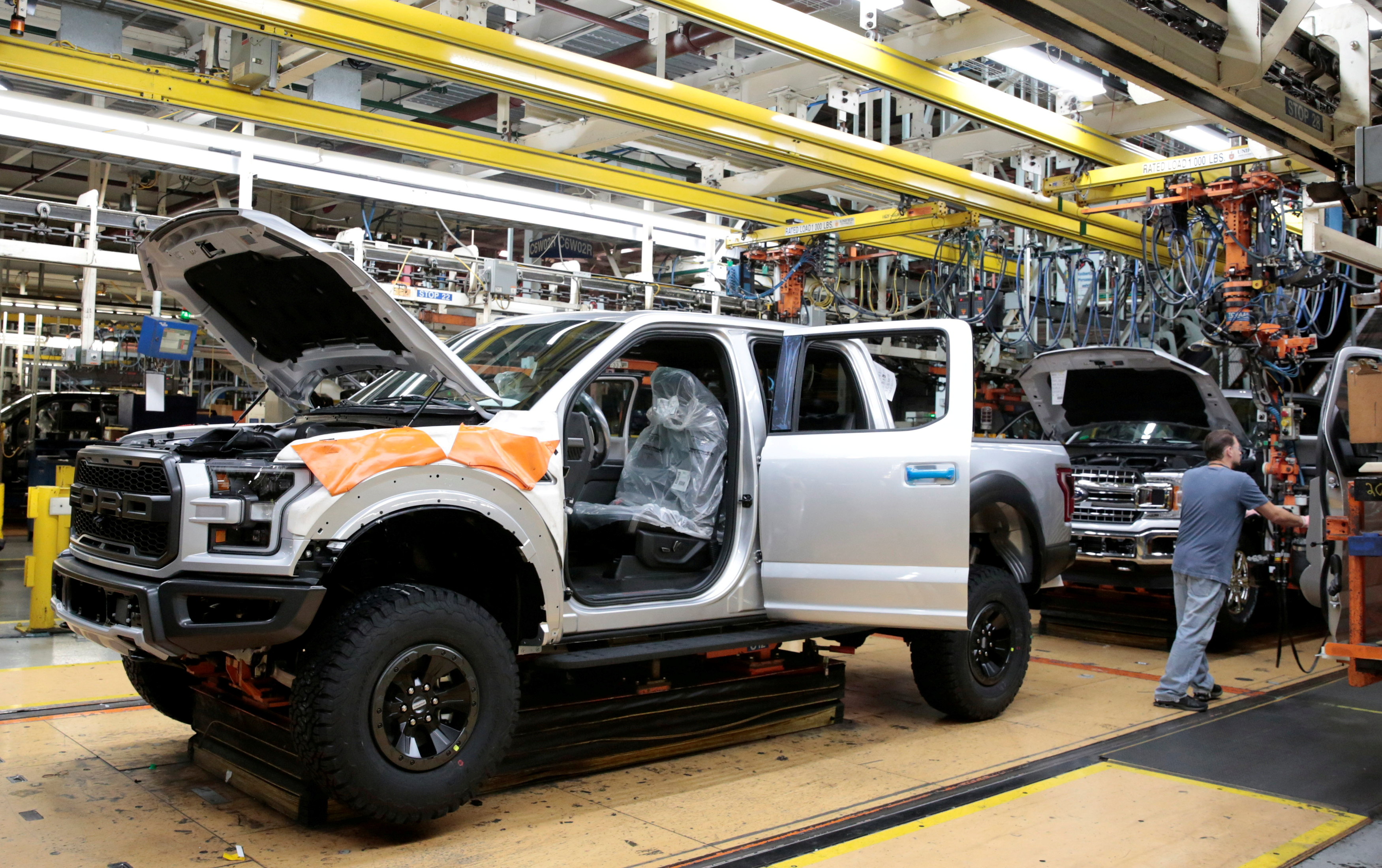 A Ford 2018 F150 pick-up truck moves down the assembly line at Ford's Dearborn Truck Plant during the 100-year celebration of the Ford River Rouge Complex in Dearborn, Michigan U.S. September 27, 2018.  REUTERS/Rebecca Cook