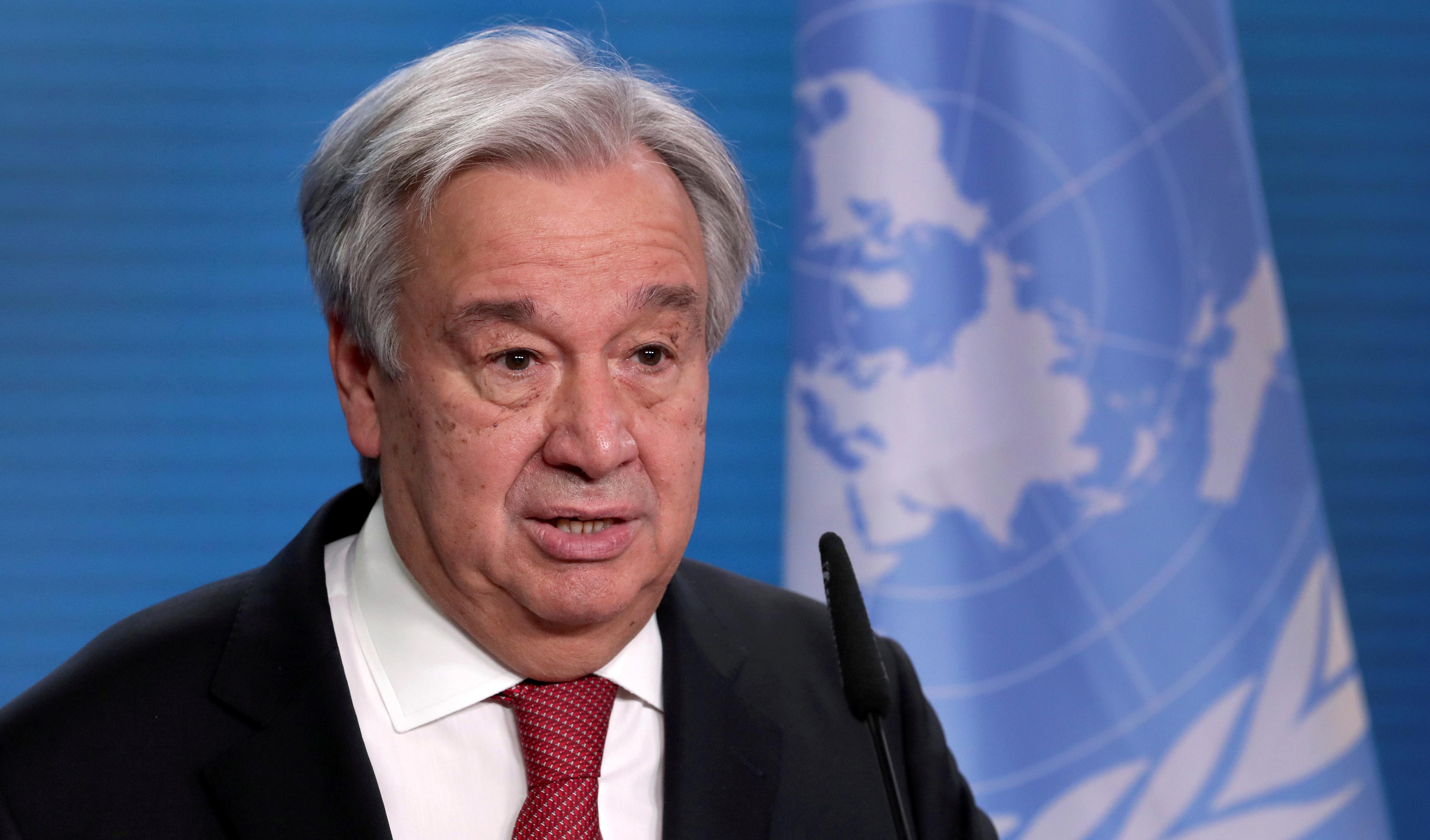 U.N. Secretary-General Antonio Guterres addresses the media during a news conference in Berlin, Germany, December 17, 2020. Michael Sohn/Pool via REUTERS/File Photo