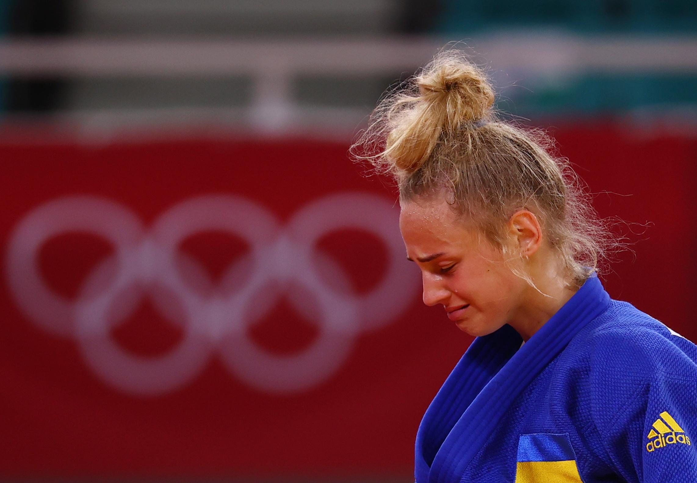 Tokyo 2020 Olympics - Judo - Women's 48kg - Bronze medal match - Nippon Budokan - Tokyo, Japan - July 24, 2021. Daria Bilodid of Ukraine reacts after winning bronze REUTERS/Sergio Perez
