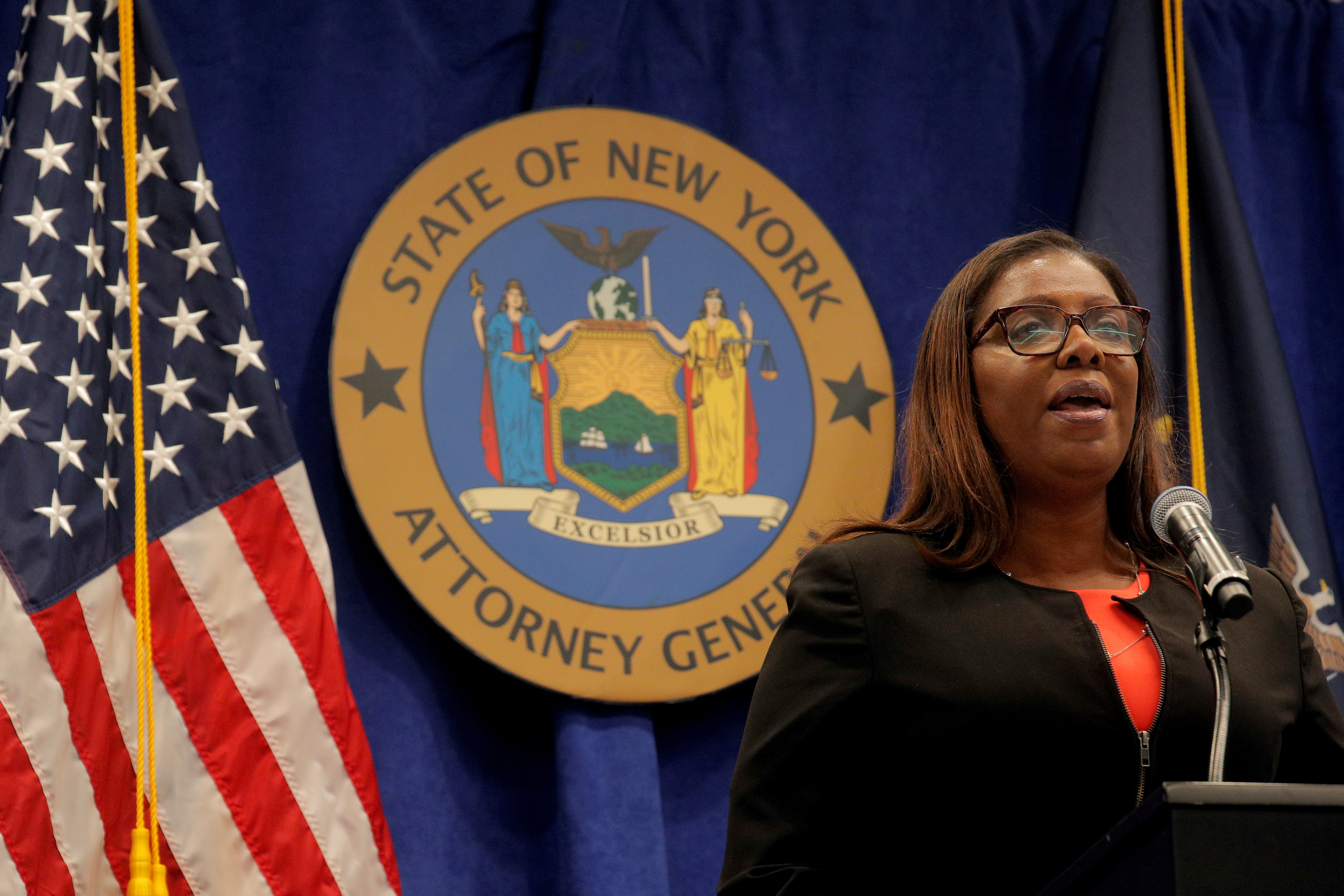 New York State Attorney General, Letitia James, speaks during a news conference, to announce a suit to dissolve the National Rifle Association, In New York, U.S., August 6, 2020. REUTERS/Brendan McDermid/File Photo