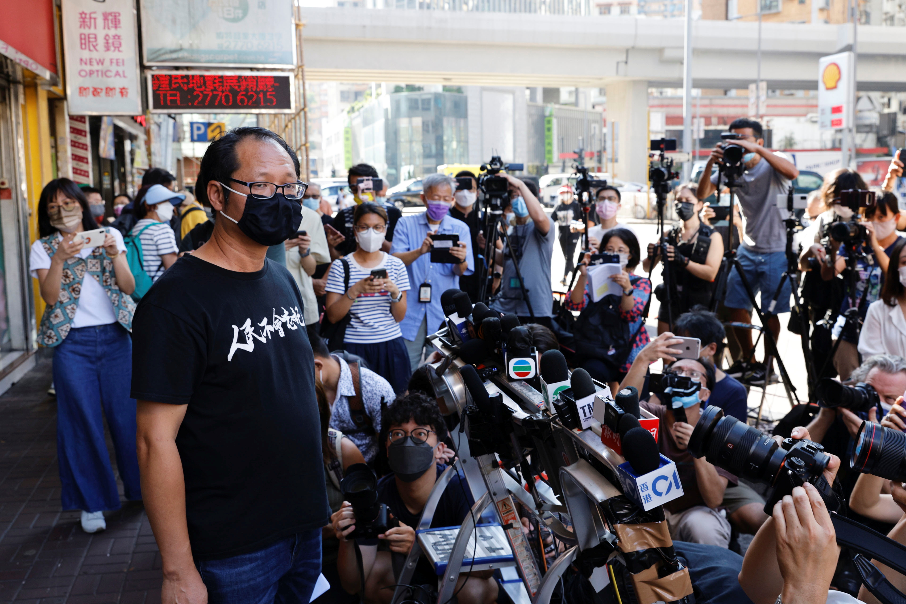 Richard Tsoi, secretary of the Hong Kong Alliance in Support of Patriotic Democratic Movements of China, speaks to media after it was announced that the group will disband, in Hong Kong, China September 25, 2021. REUTERS/Tyrone Siu