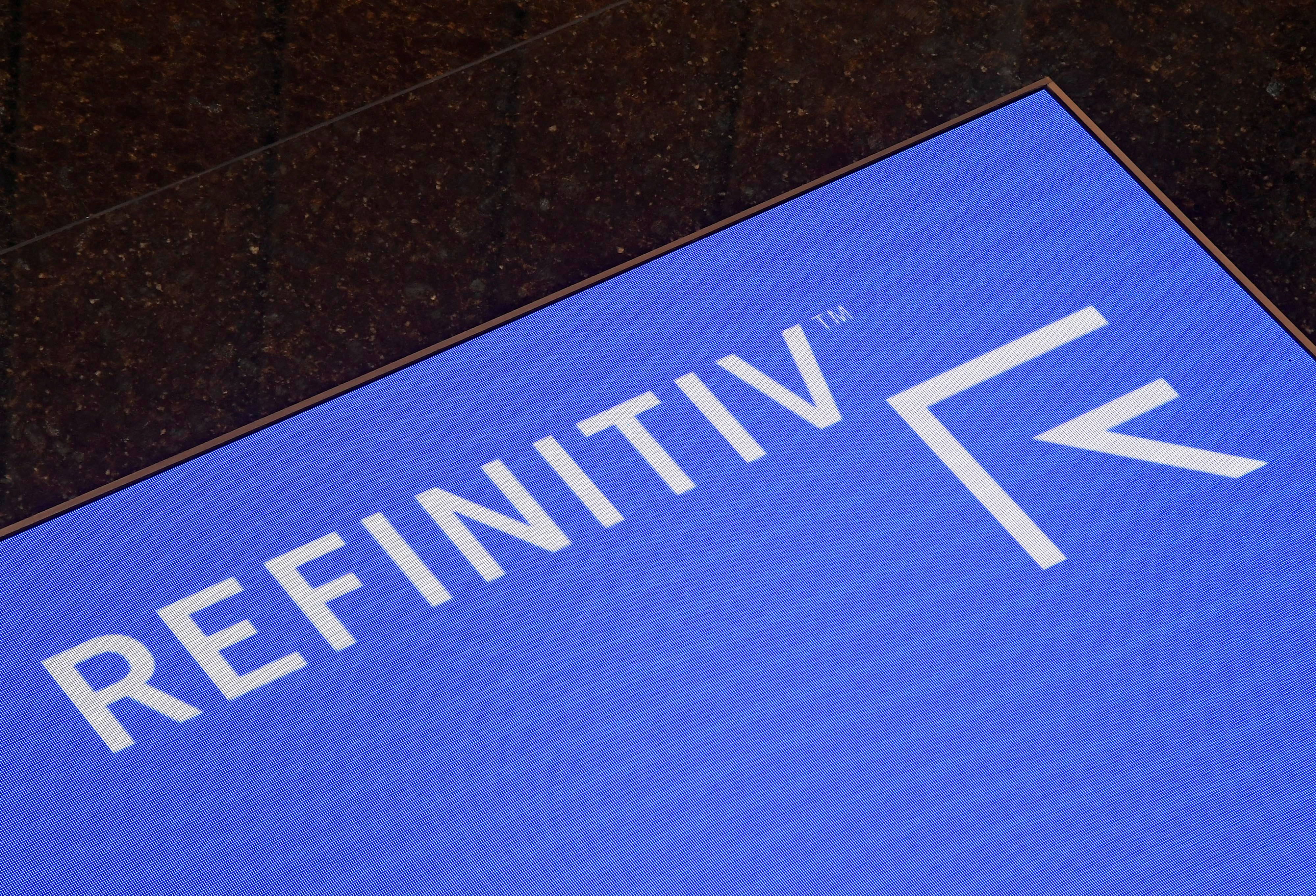 The Refinitiv logo is seen on a screen in offices in Canary Wharf in London, Britain August 1, 2019. REUTERS/Toby Melville