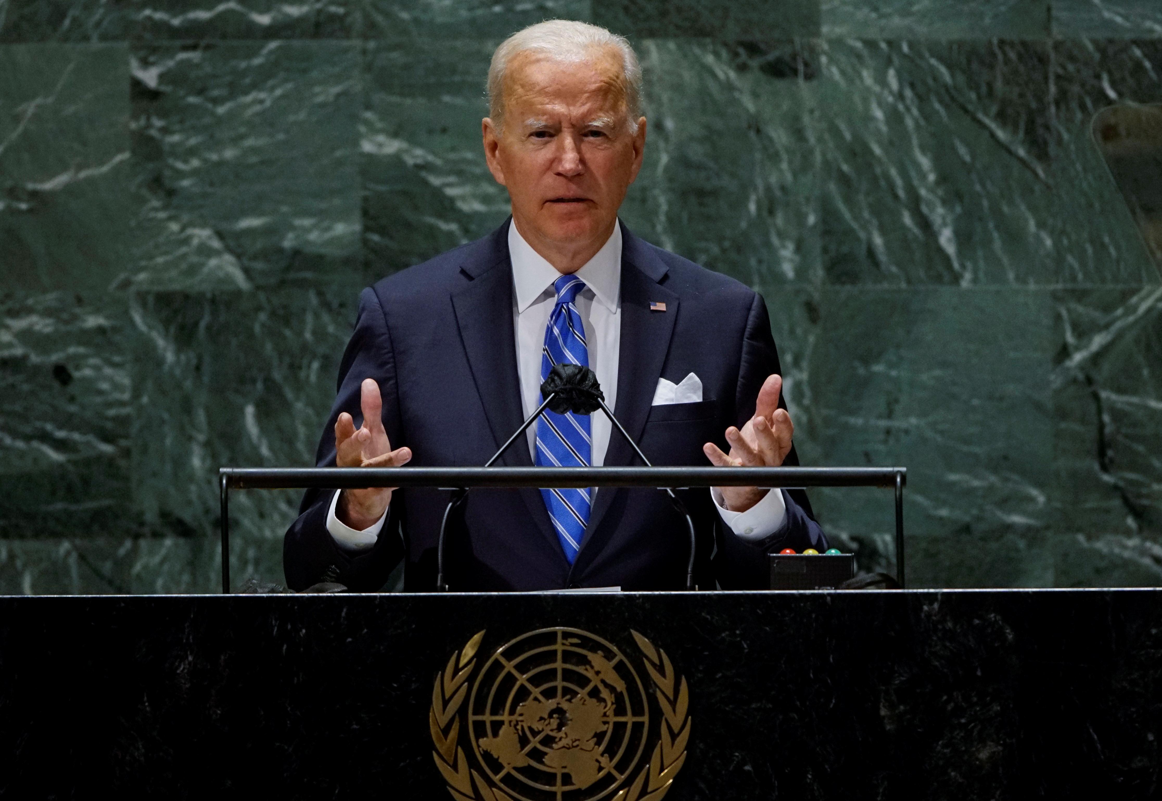 U.S. President Joe Biden speaks during the 76th Session of the U.N. General Assembly in New York City, U.S., September 21, 2021.  REUTERS/Eduardo Munoz/Pool