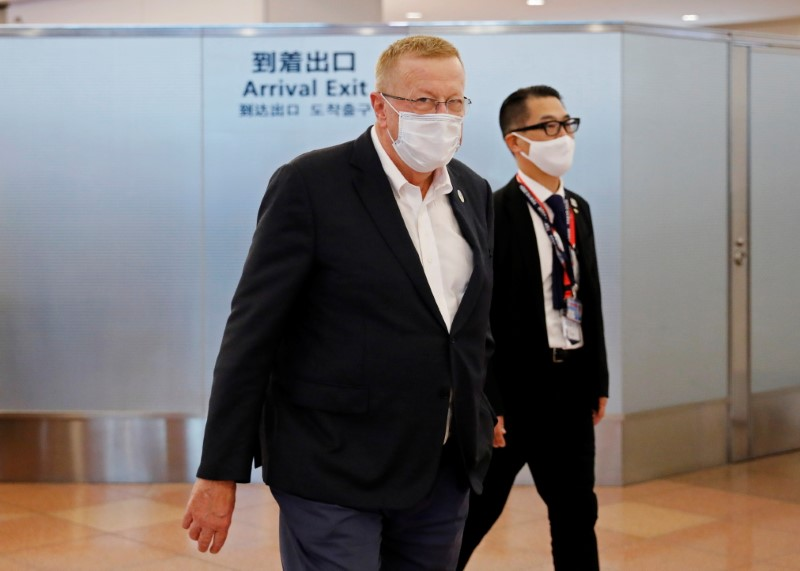 International Olympic Committee (IOC) Vice President and Tokyo 2020 Olympic Games Coordination Commission Chairman John Coates arrives at Haneda Airport in Tokyo, Japan June 15, 2021.  REUTERS/Issei Kato