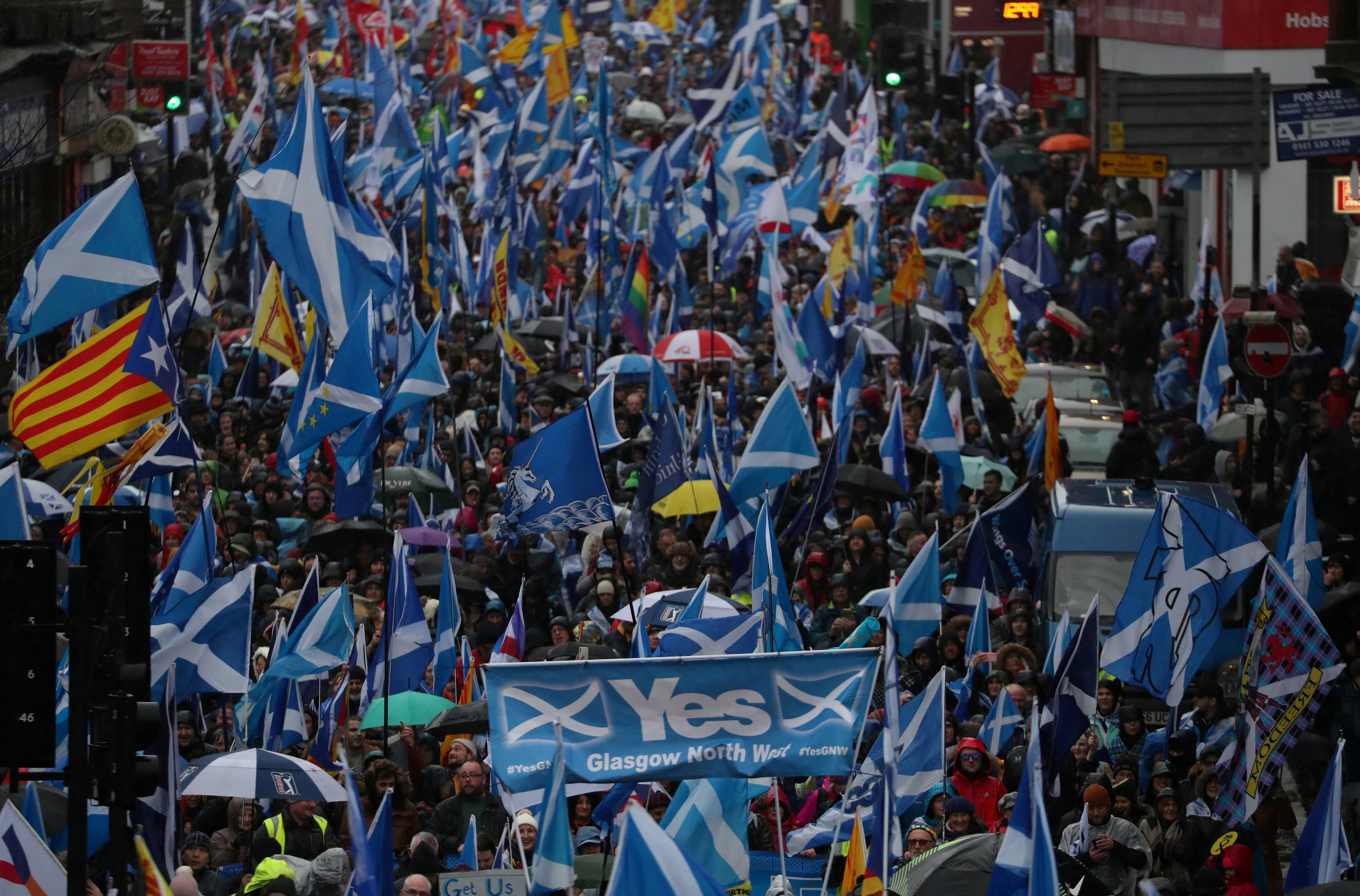 Demonstrators march for Scottish Independence through Glasgow City centre, Scotland, Britain January 11, 2020. REUTERS/Russell Cheyne/File Photo