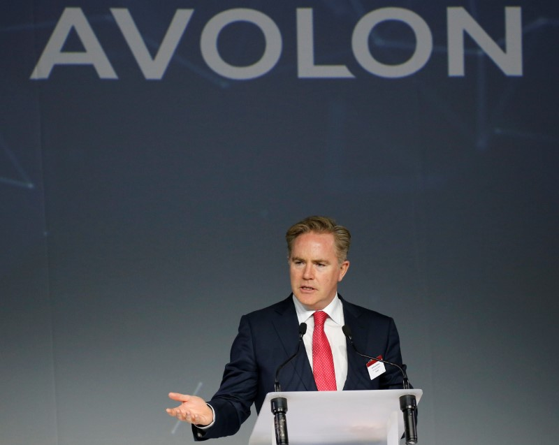 Domhnal Slattery, Chief Executive Officer of Avolon, delivers a speech during the delivery of the first A330neo commercial passenger aircraft for TAP Air Portugal airline at the Airbus delivery center in Colomiers near Toulouse, France, November 26, 2018. REUTERS/Regis Duvignau