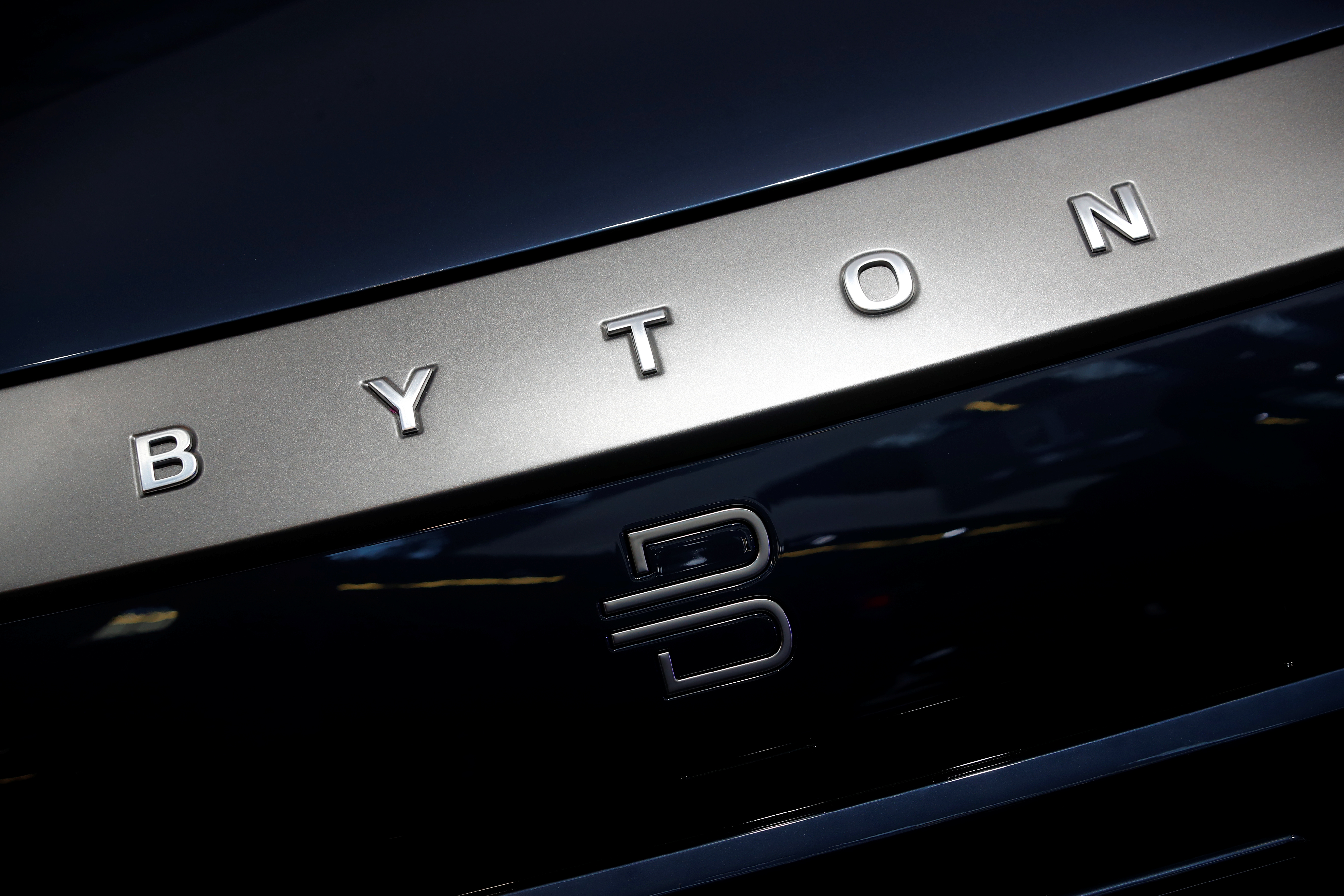 Byton logo is pictured at the 2019 Frankfurt Motor Show (IAA) in Frankfurt, Germany September 10, 2019. REUTERS/Wolfgang Rattay