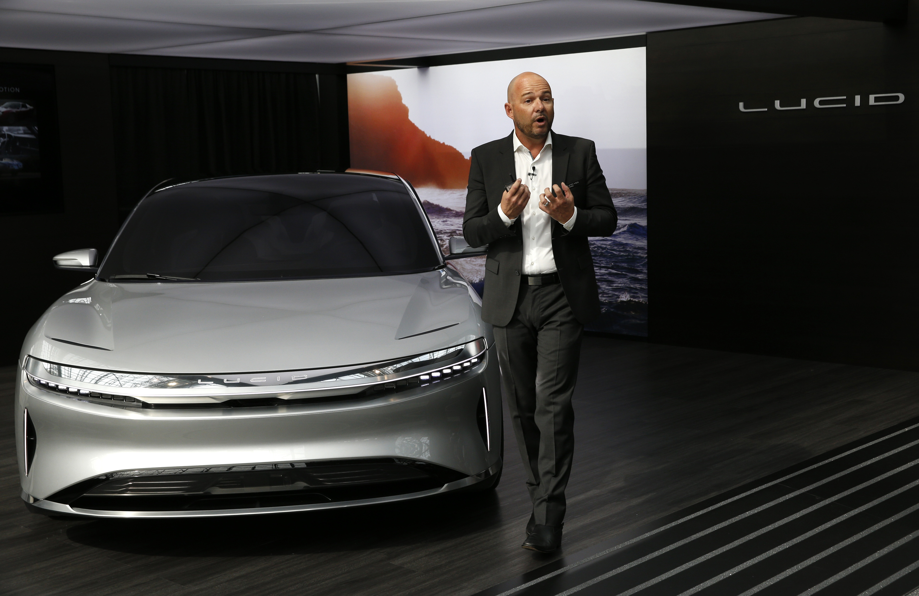 Derek Jenkins, VP of Design at Lucid Motors, introduces the alpha prototype of the Lucid Air at the 2017 New York International Auto Show in New York City, U.S. April 13, 2017. REUTERS/Andrew Kelly - HP1ED4D16CEI7
