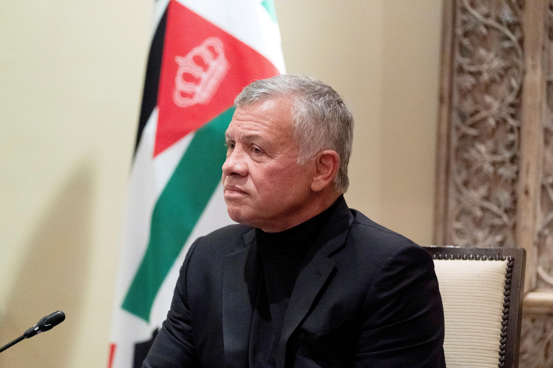 Jordan's King Abdullah II listens during a meeting in Amman, Jordan, May 26, 2021. Alex Brandon/Pool via REUTERS
