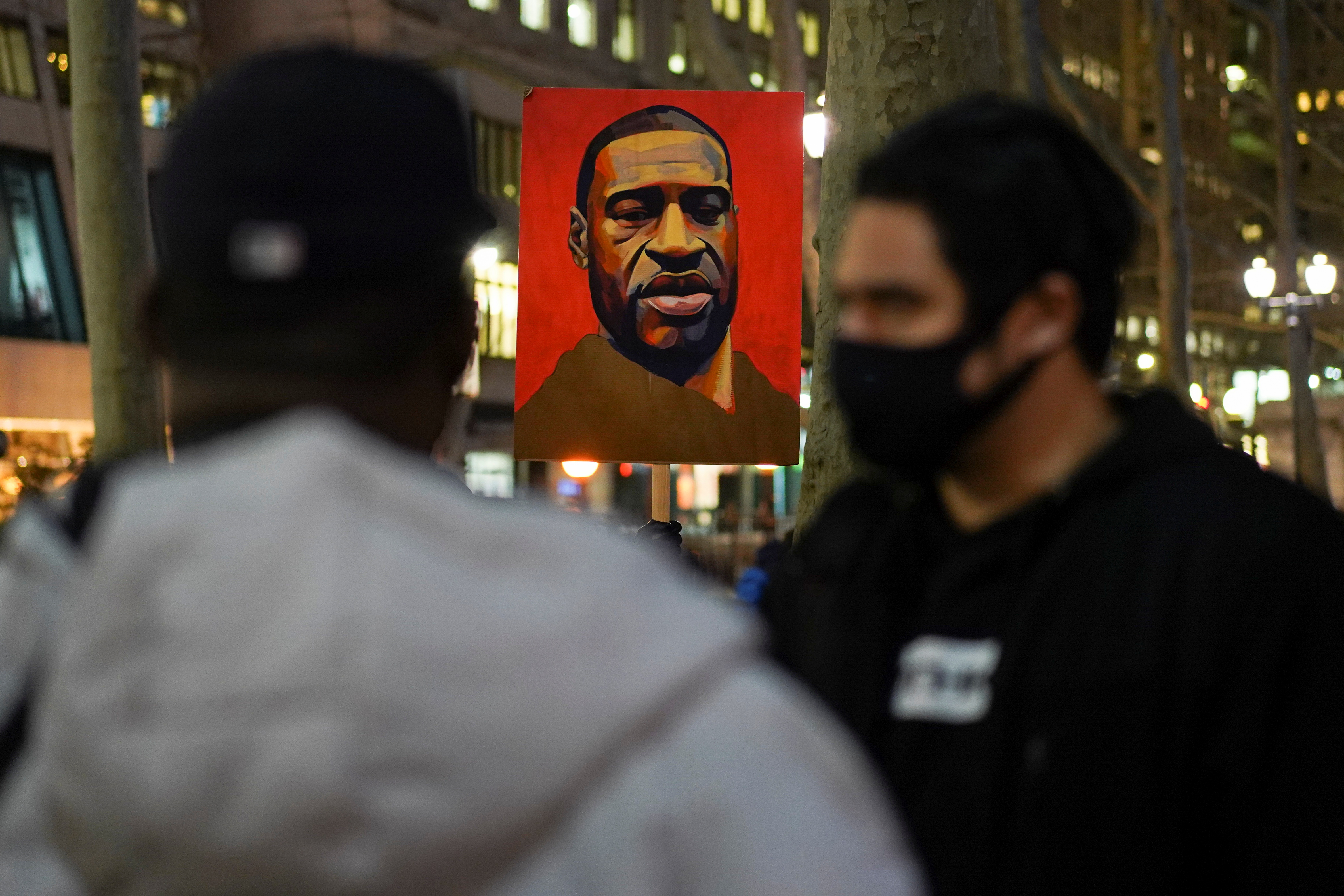 Demonstrators take part in a Justice for George Floyd protest in New York City, New York, U.S. March 8, 2021. REUTERS/David 'Dee' Delgado