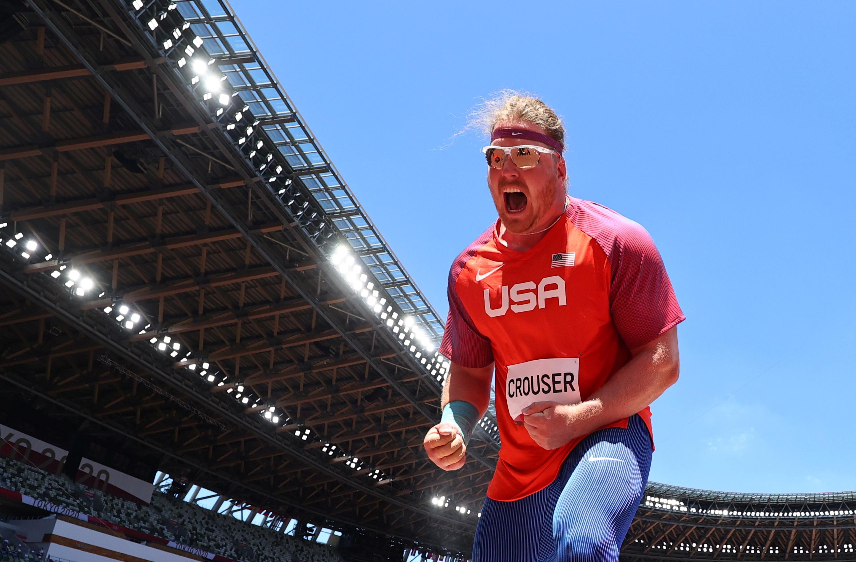 Tokyo 2020 Olympics - Athletics - Men's Shot Put - Final - Olympic Stadium, Tokyo, Japan - August 5, 2021. Ryan Crouser of the United States celebrates after his throw REUTERS/Kai Pfaffenbach