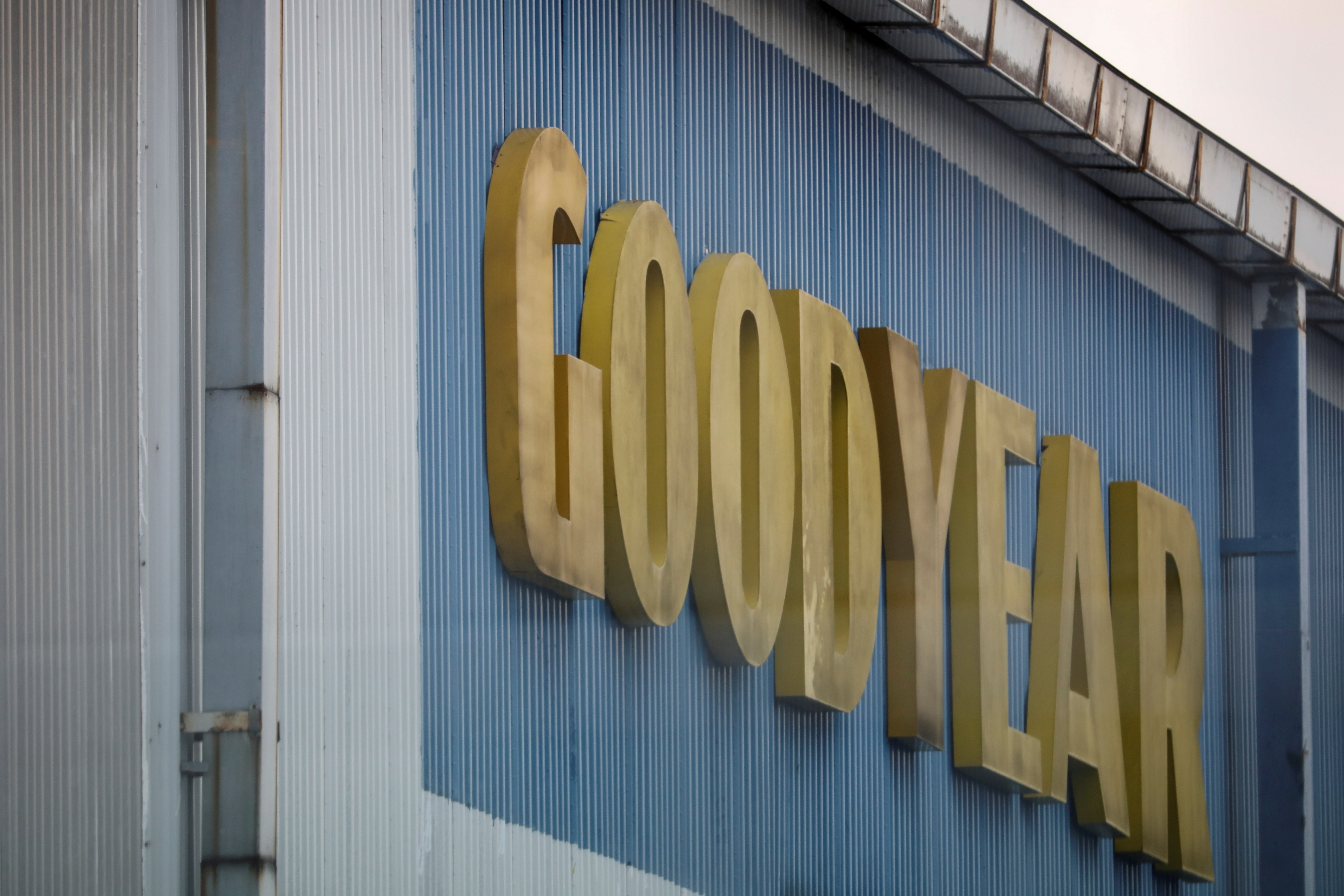 A logo of Goodyear is pictured at it's factory in Shah Alam, Malaysia May 6, 2021. Picture taken May 6, 2021. REUTERS/Lim Huey Teng/File Photo