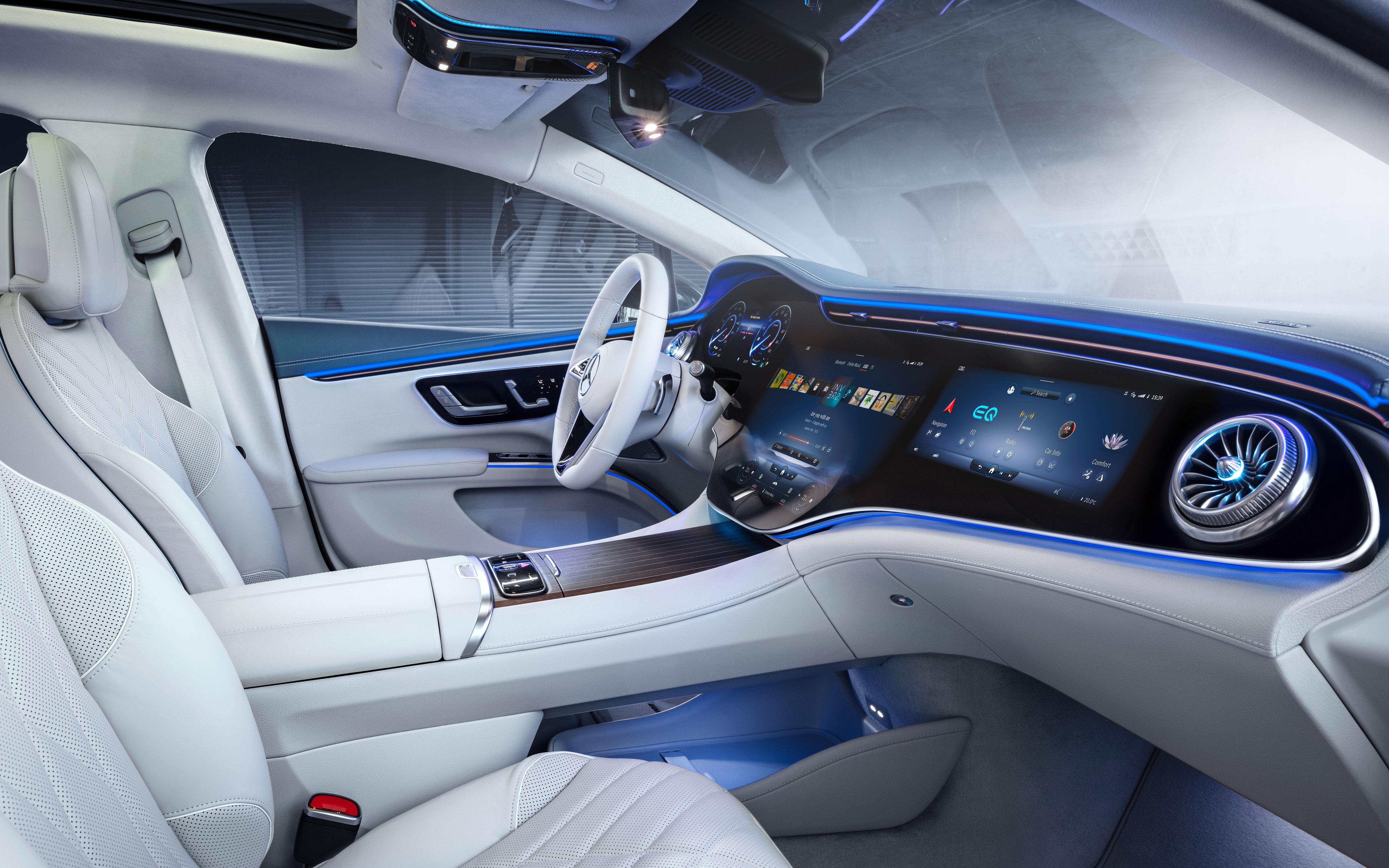 Undated handout image of the Mercedes-Benz EQS all-electric sedan. Mercedes-Benz/Handout via REUTERS