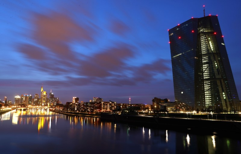 The European Central Bank (ECB) headquarters is pictured during sunset as the spread of the coronavirus disease (COVID-19) continues in Frankfurt, Germany, March 21, 2021. REUTERS/Kai Pfaffenbach/File photo