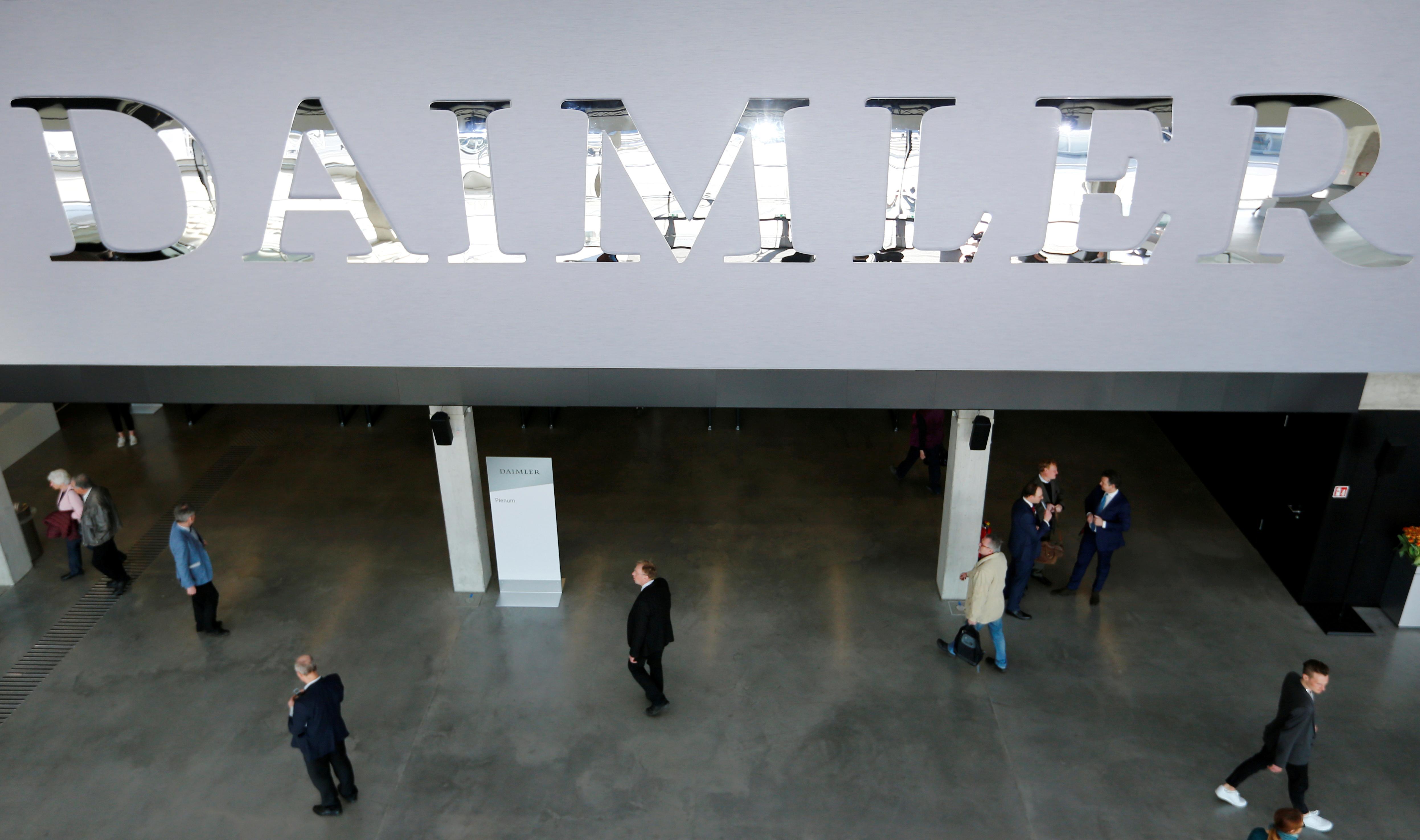 The Daimler logo is seen before the Daimler annual shareholder meeting in Berlin, Germany, April 5, 2018. REUTERS/Hannibal Hanschke