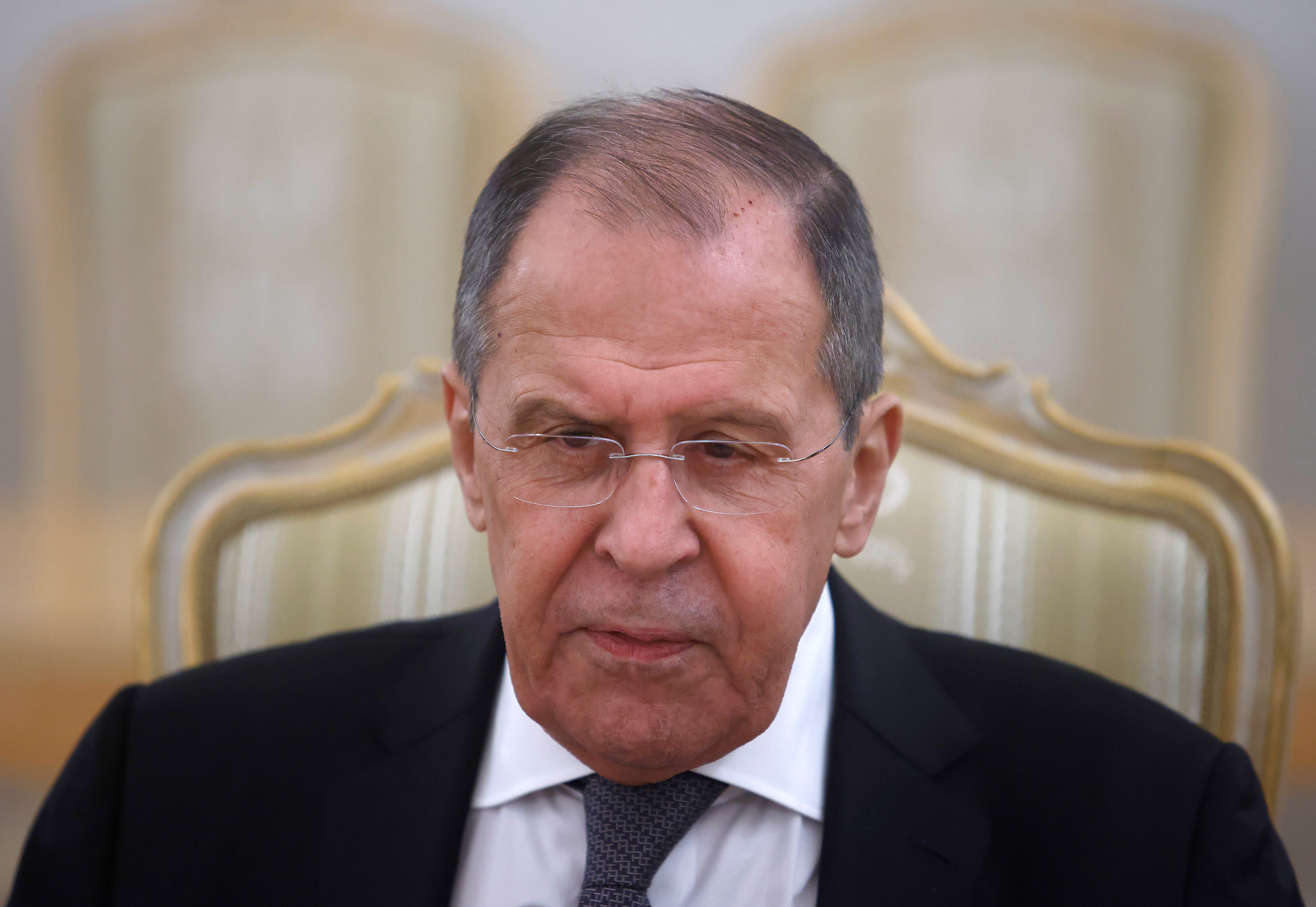 Russian Foreign Minister Sergei Lavrov attends a meeting with U.N. Secretary-General Antonio Guterres in Moscow, Russia May 12, 2021. REUTERS/Maxim Shemetov