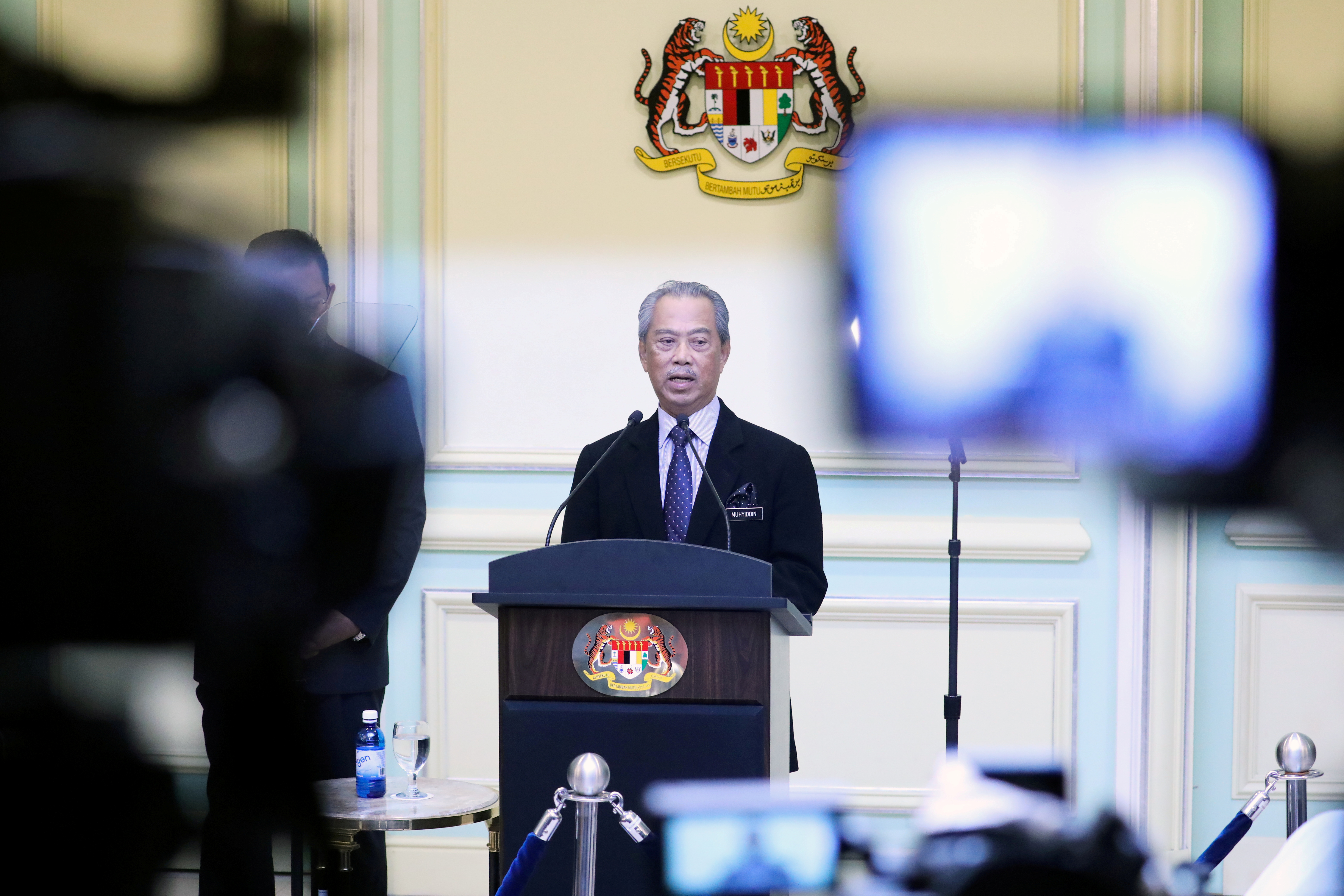 Malaysia's Prime Minister Muhyiddin Yassin speaking during his cabinet announcement in Putrajaya, Malaysia March 9, 2020. REUTERS/Lim Huey Teng/File Photo