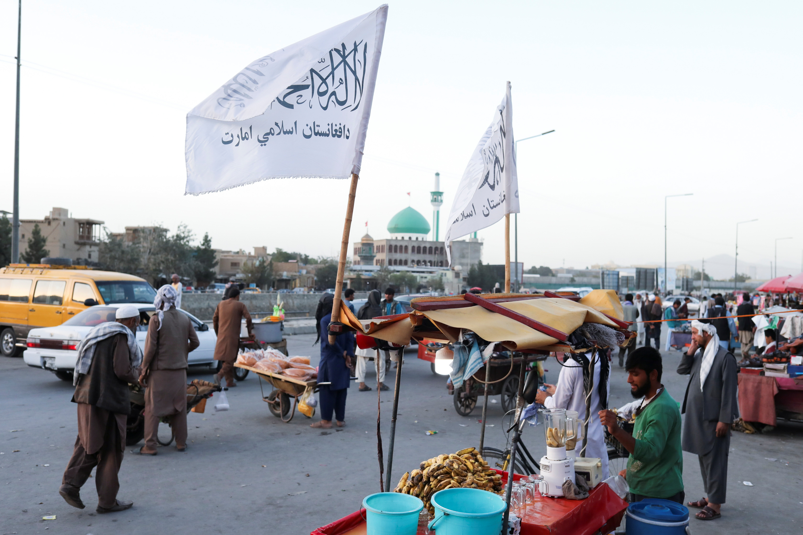 The Taliban flags are seen on a street in Kabul, Afghanistan, September 16, 2021. Picture taken on September 16, 2021. WANA (West Asia News Agency) via REUTERS ATTENTION EDITORS - THIS PICTURE WAS PROVIDED BY A THIRD PARTY