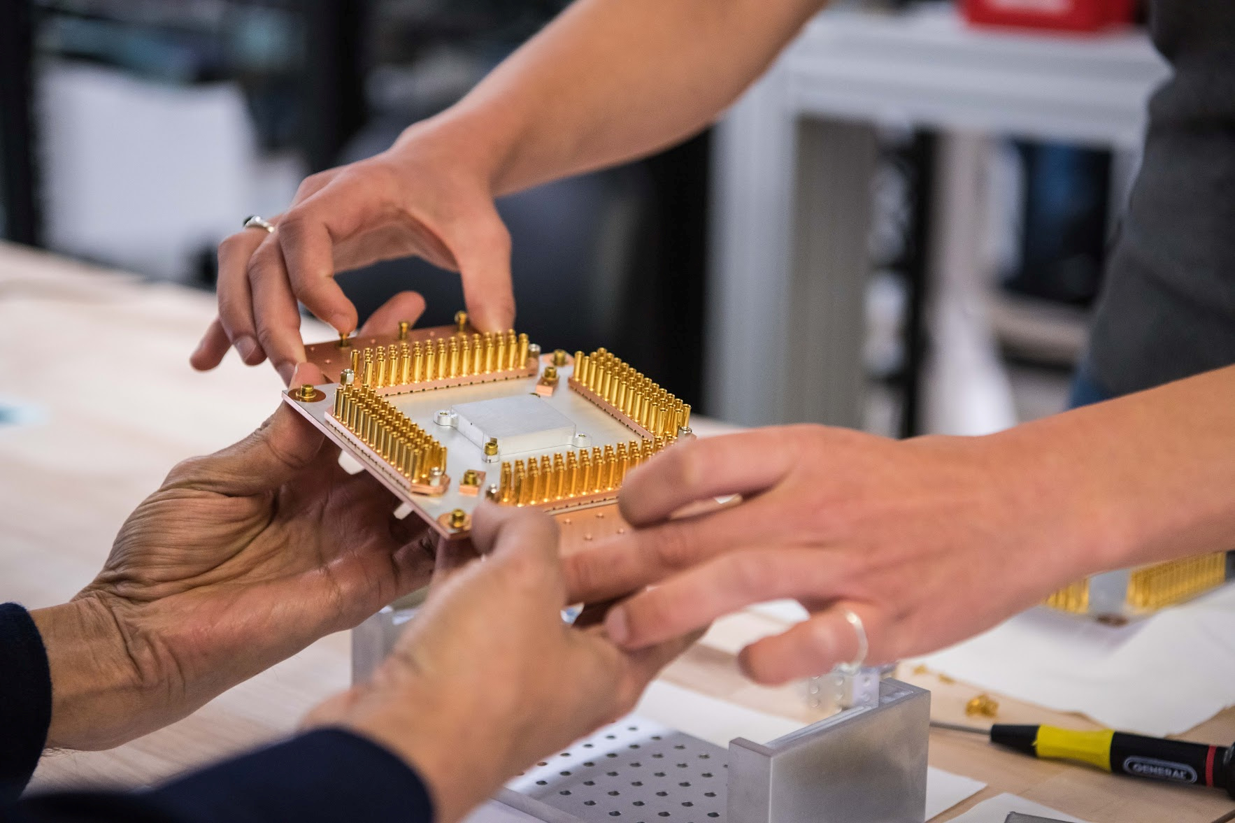 A handout picture from October 2019 shows a component of Google's Quantum Computer in the Santa Barbara lab, California, U.S. Google/Handout via REUTERS