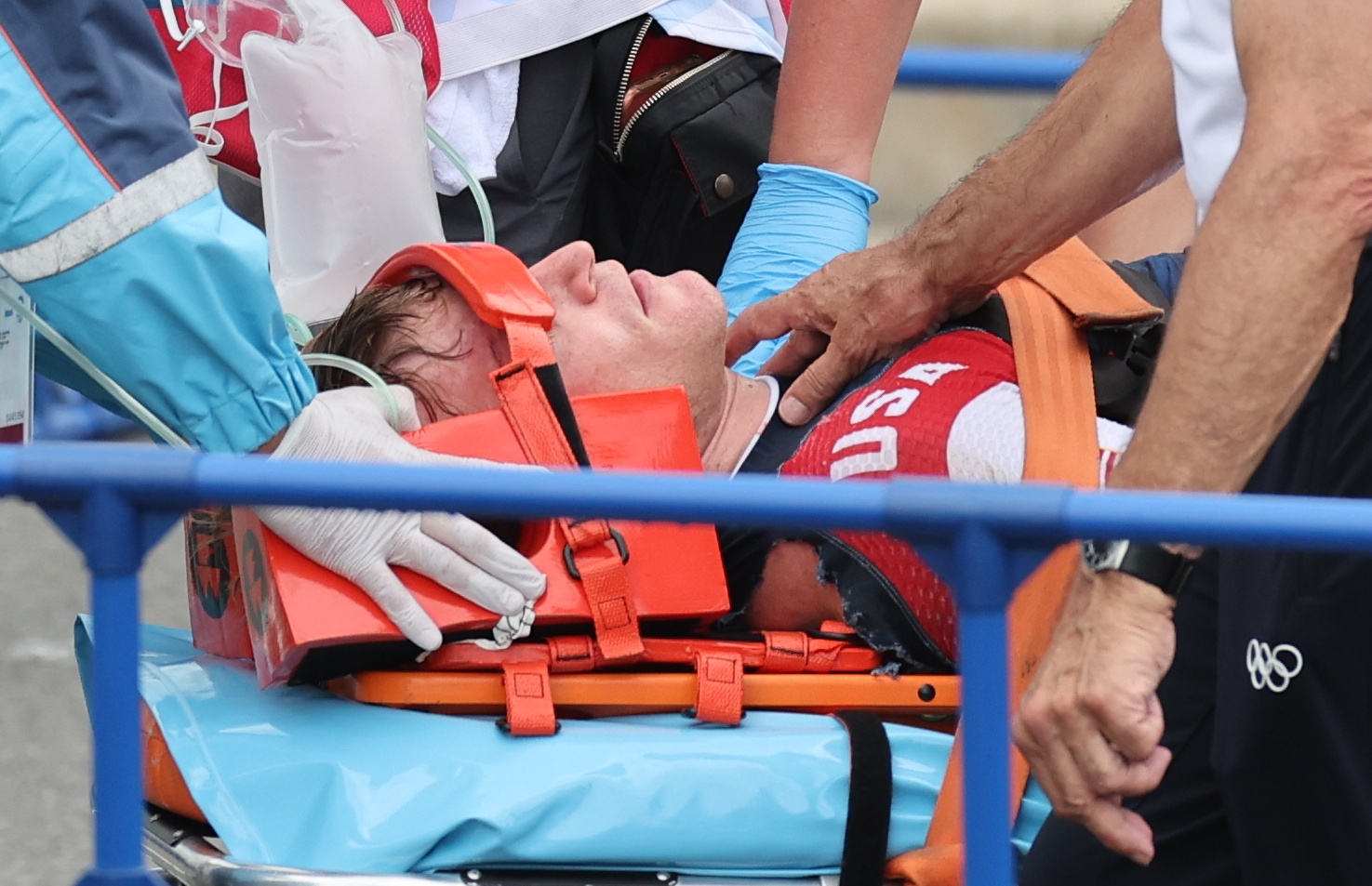 Tokyo 2020 Olympics - BMX Racing - Men's Individual - Semifinal - AUP - Ariake Urban Sports Park, Tokyo, Japan - July 30, 2021. Connor Fields of the United States receives medical attention. REUTERS/Christian Hartmann
