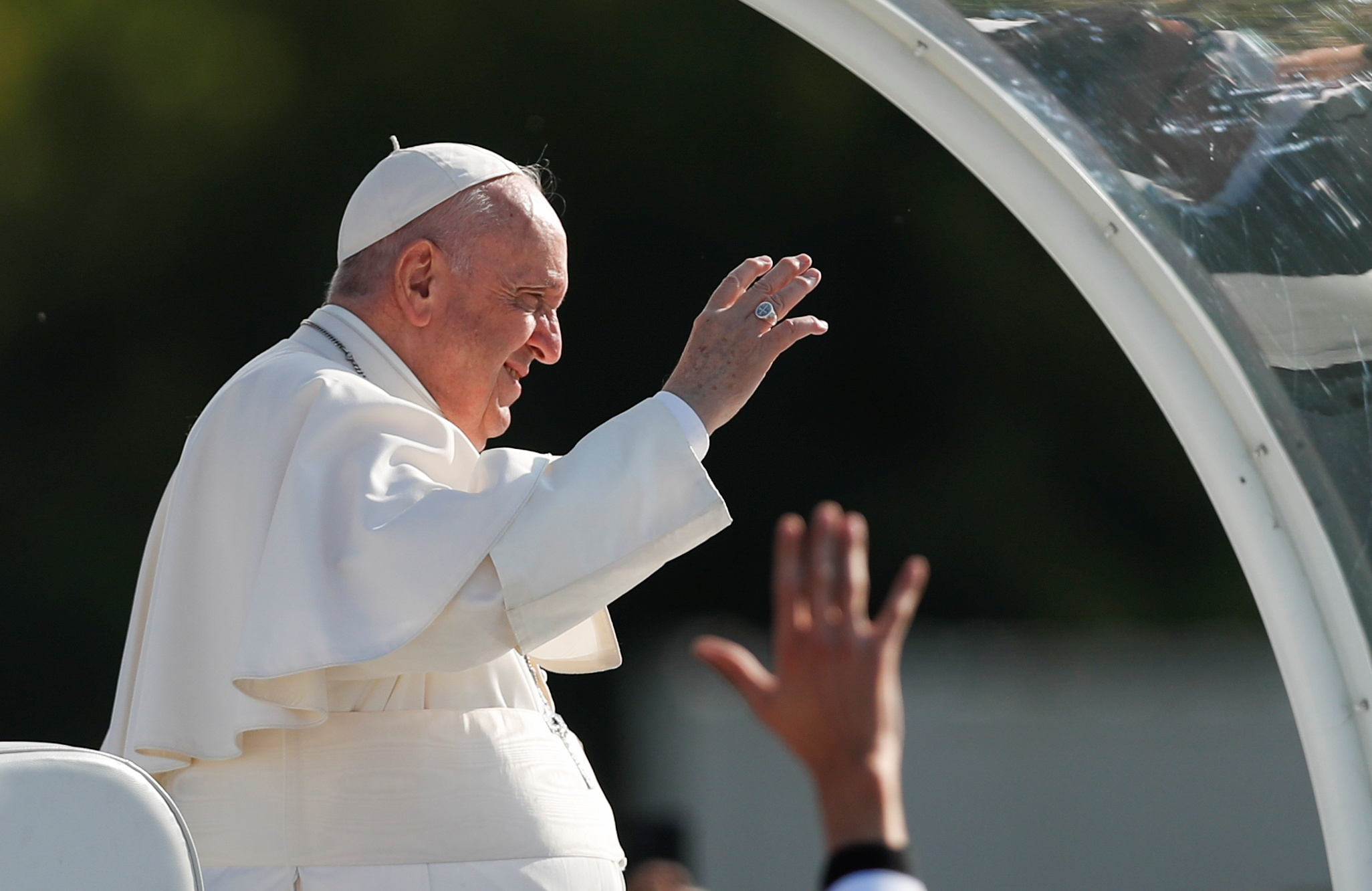 Pope Francis arrives for the Holy Mass at the Basilica of Our Lady of Sorrows in Sastin, Slovakia, September 15, 2021.  REUTERS/David Cerny