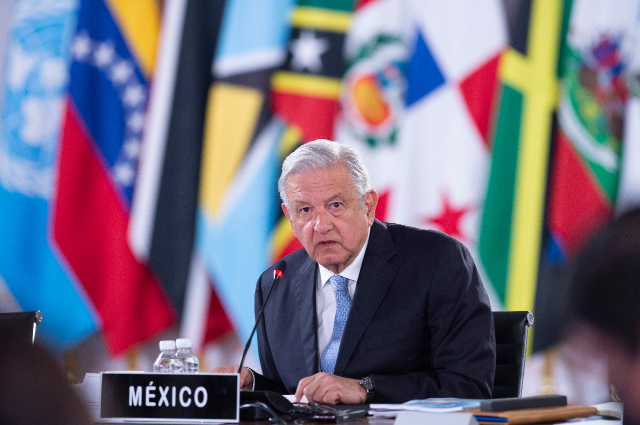Mexico President Andres Manuel Lopez Obrador listens during the summit of the Community of Latin American and Caribbean States (CELAC), at National Palace in Mexico City, Mexico September 18, 2021. Mexico's Presidency/Handout via REUTERS