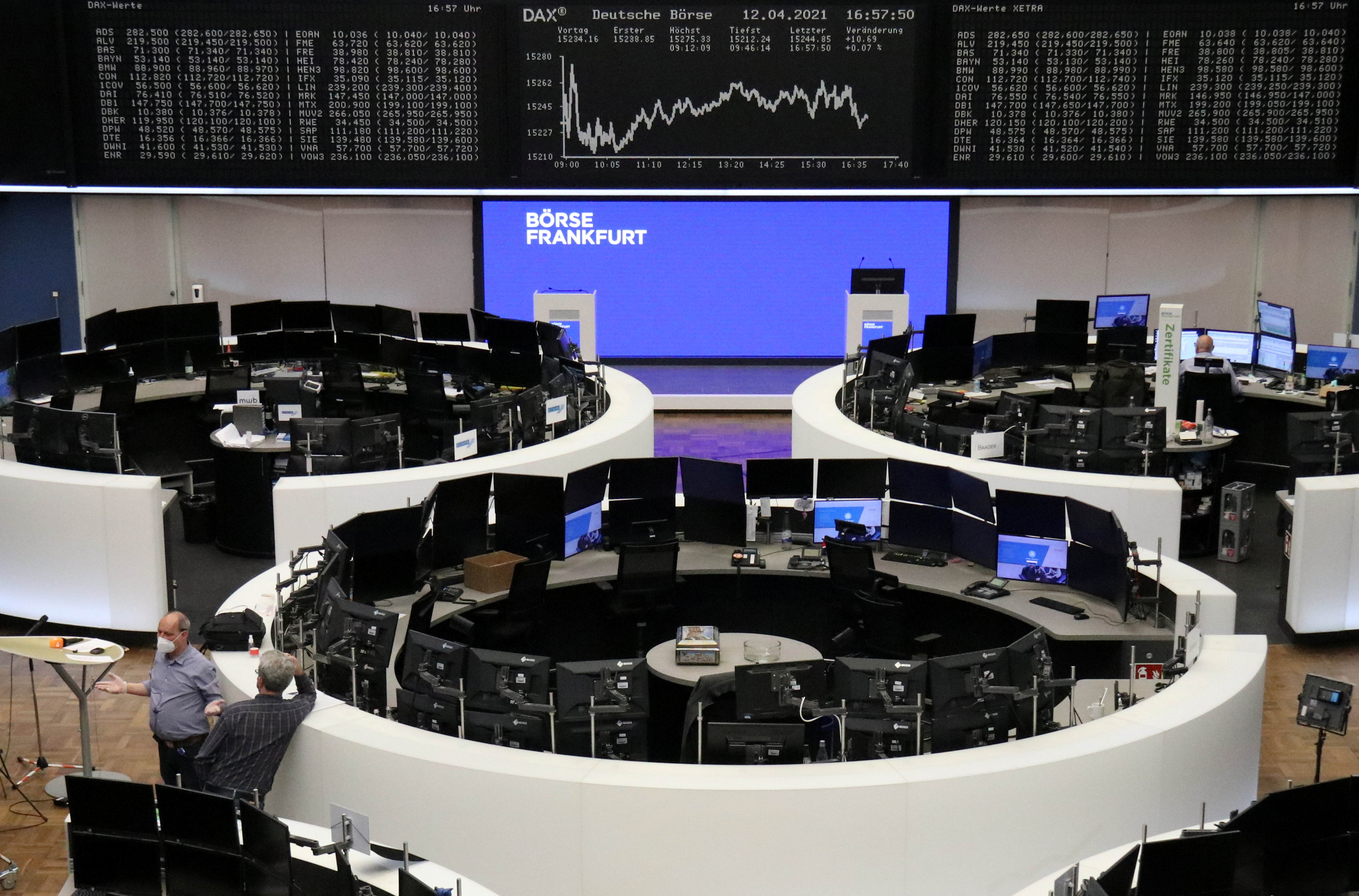 The German share price index DAX graph is pictured at the stock exchange in Frankfurt, Germany, April 12, 2021.    REUTERS/Staff
