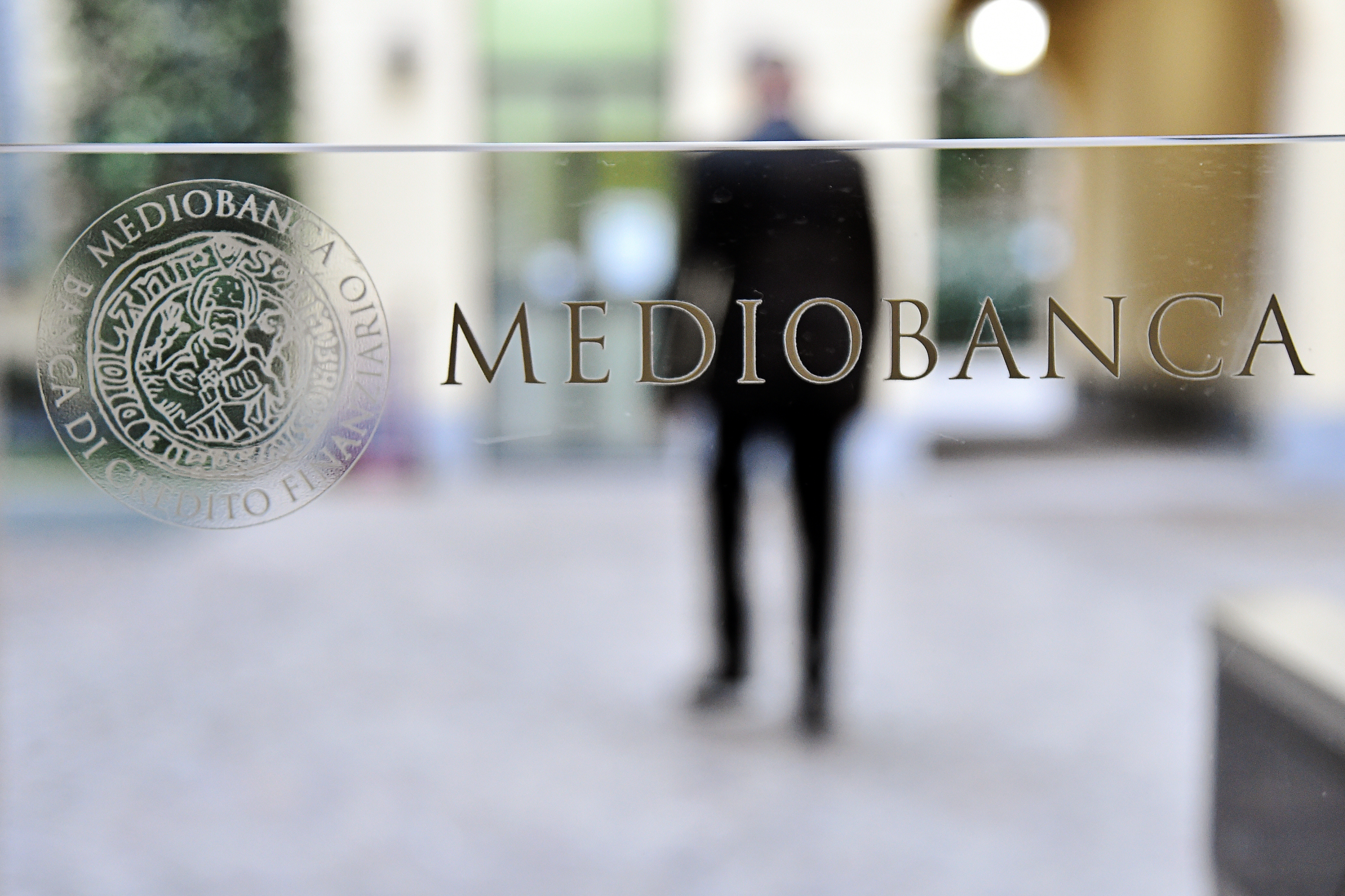 The Mediobanca logo is pictured in Milan, Italy, November 12, 2019. REUTERS/Flavio Lo Scalzo