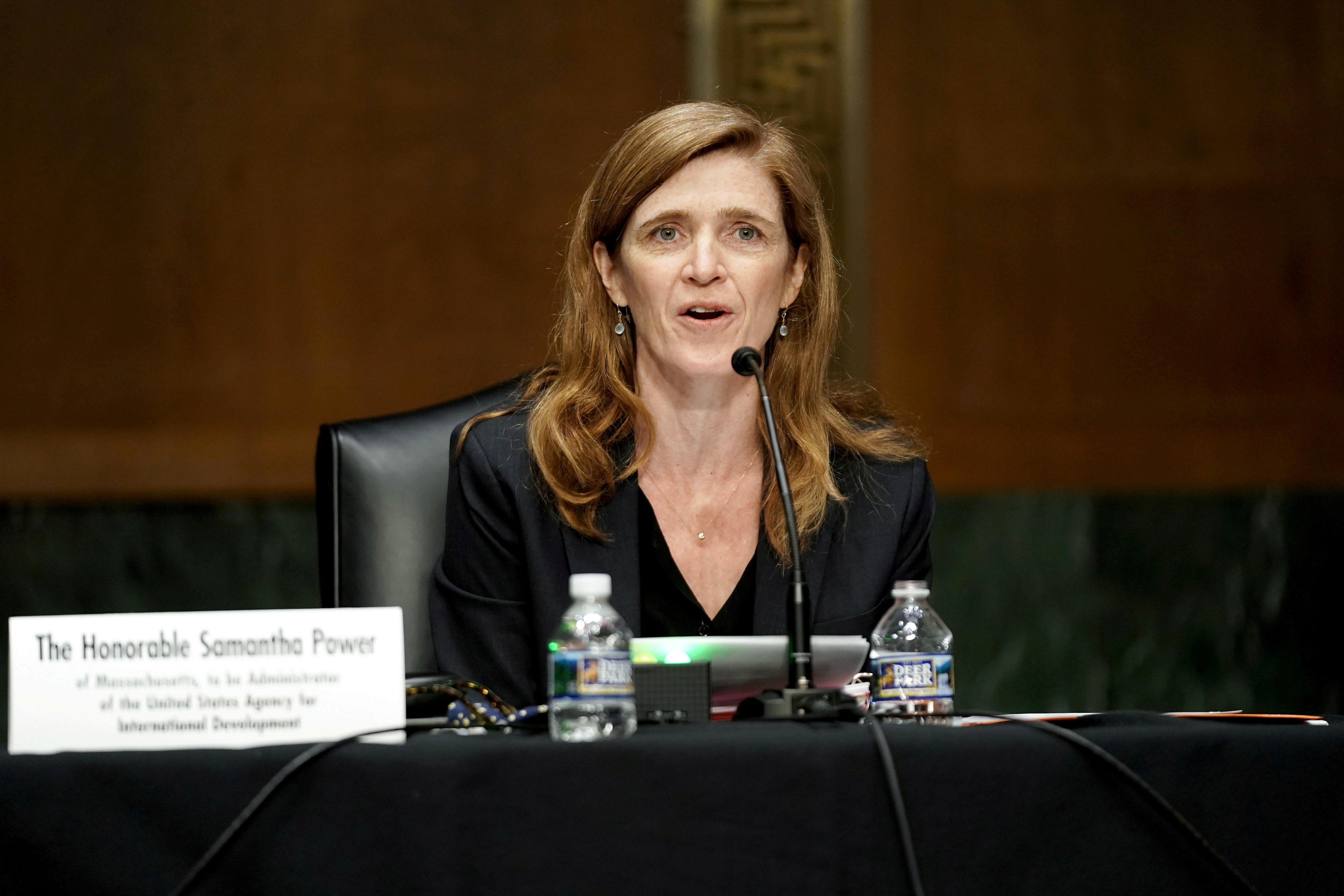 Former U.S. Ambassador to the United Nations Samantha Power, who is President Joe Biden's choice to lead the U.S. Agency for International Development, attends a U.S. Senate Foreign Relations Committee confirmation hearing in Washington, DC, U.S., March 23, 2021. Greg Nash/Pool via REUTERS/File Photo