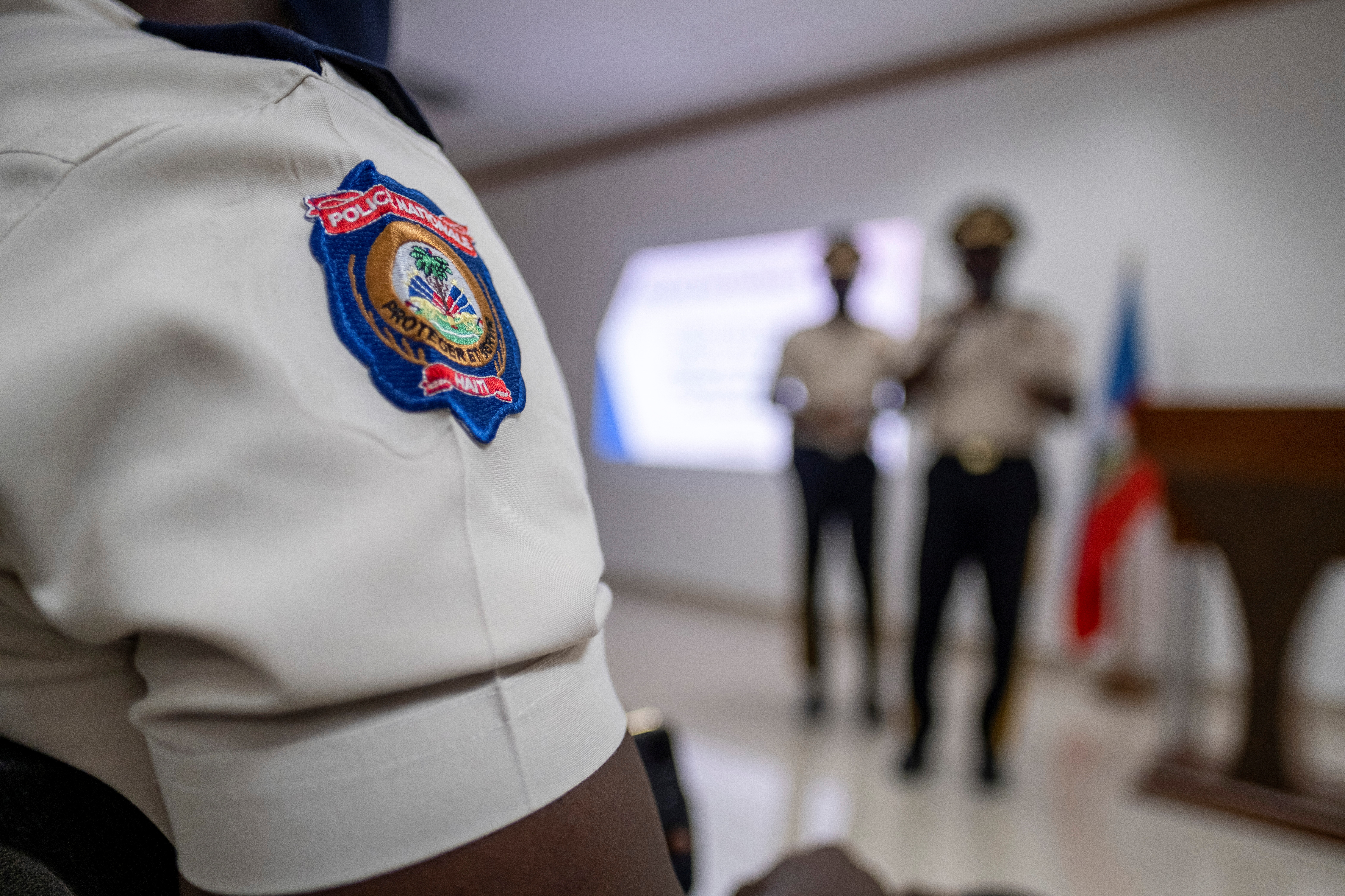 A Haitian National Police officer attends Haitian's Police Director General Leon Charles press conference in Port-au-Prince, Haiti July 15, 2021. REUTERS/Ricardo Arduengo