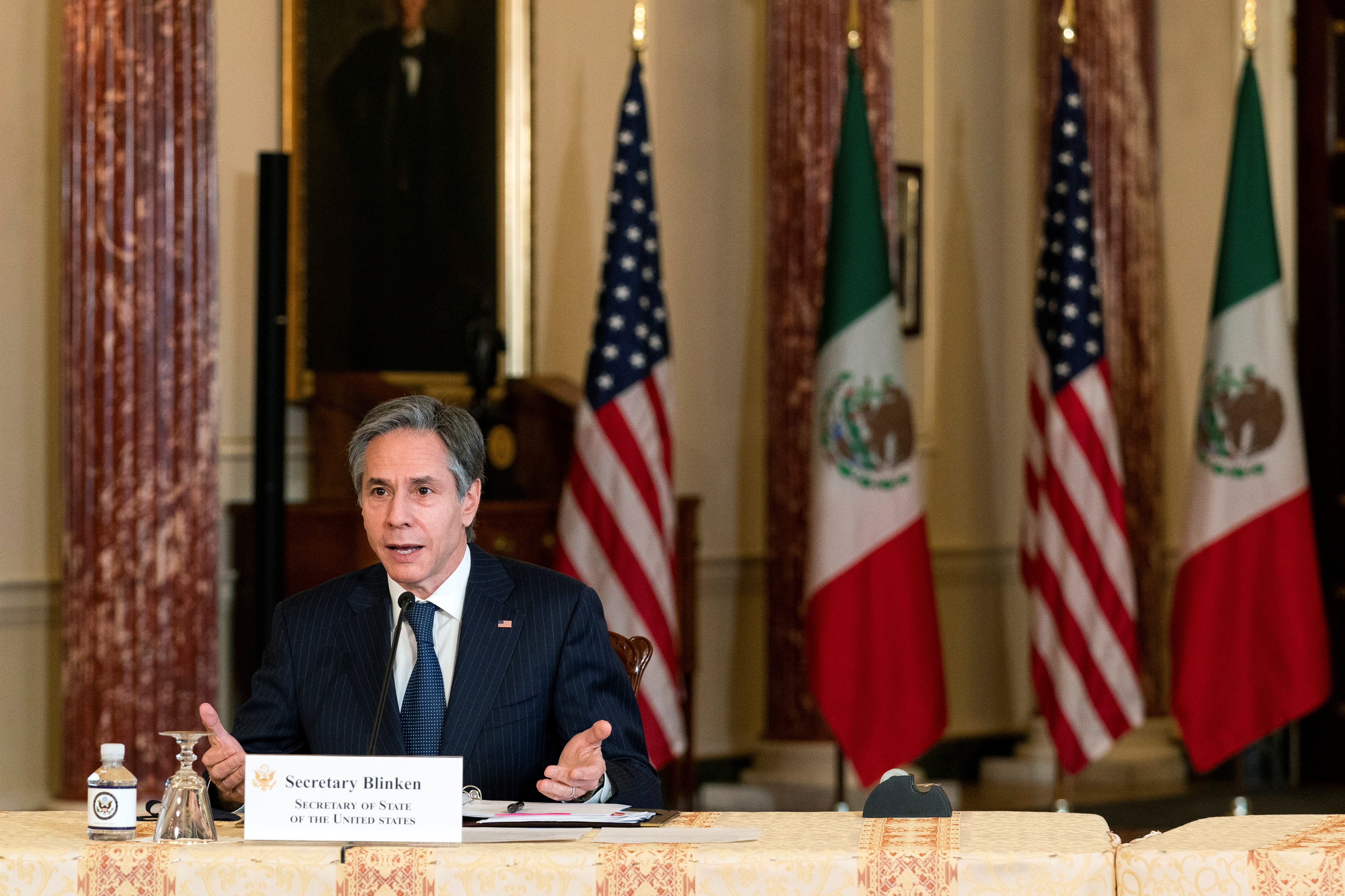 Secretary of State Antony Blinken, speaks in the Benjamin Franklin room at the State Department, during a virtual meeting with Mexican Foreign Secretary Marcelo Ebrard, who is in Mexico City, in Washington, U.S. February 26, 2021. Manuel Balce Ceneta/Pool via REUTERS
