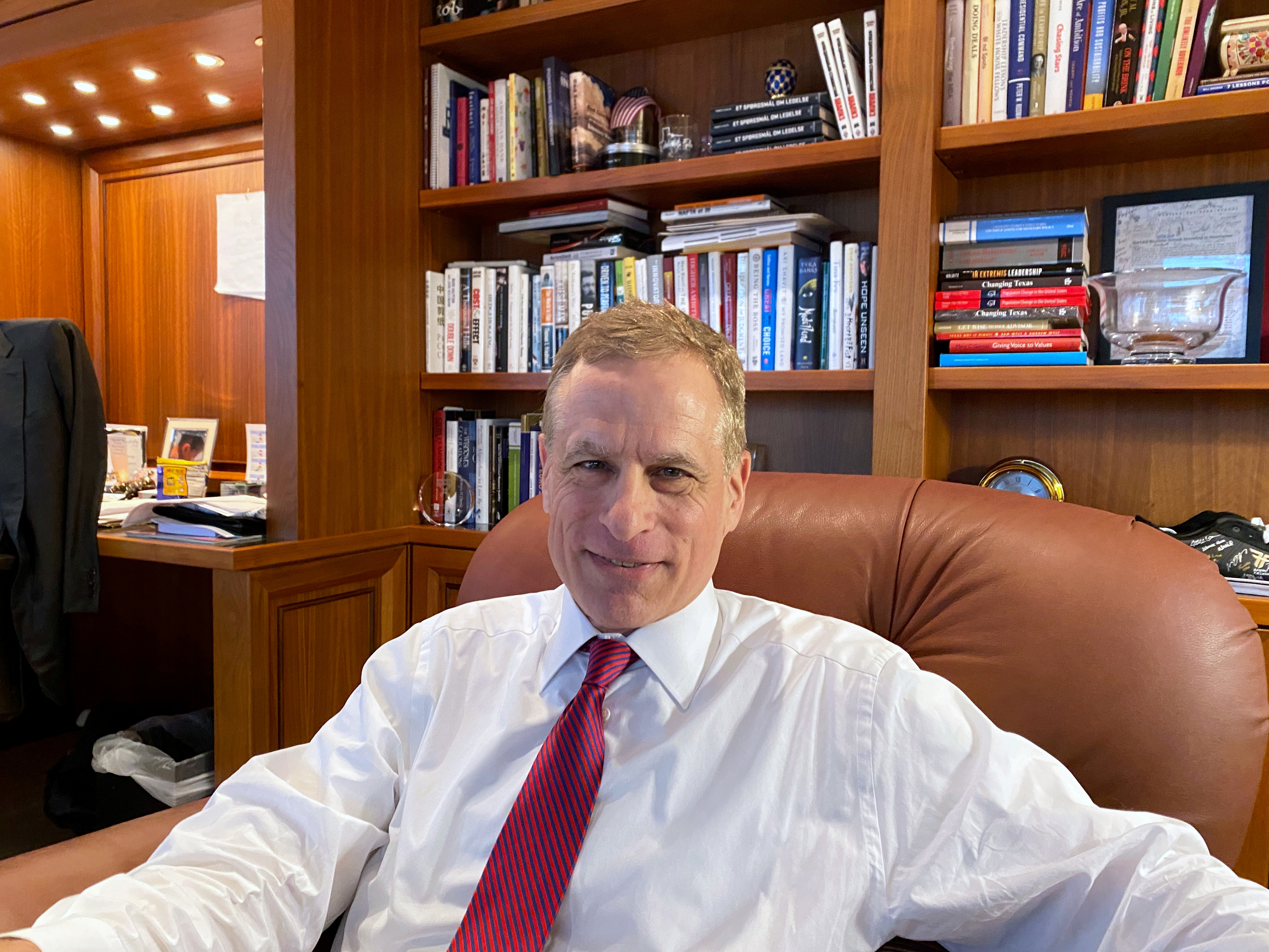 Dallas Federal Reserve Bank President Robert Kaplan speaks during an interview in his office at the bank's headquarters in Dallas, Texas, U.S. January 9, 2020. REUTERS/ Ann Saphir