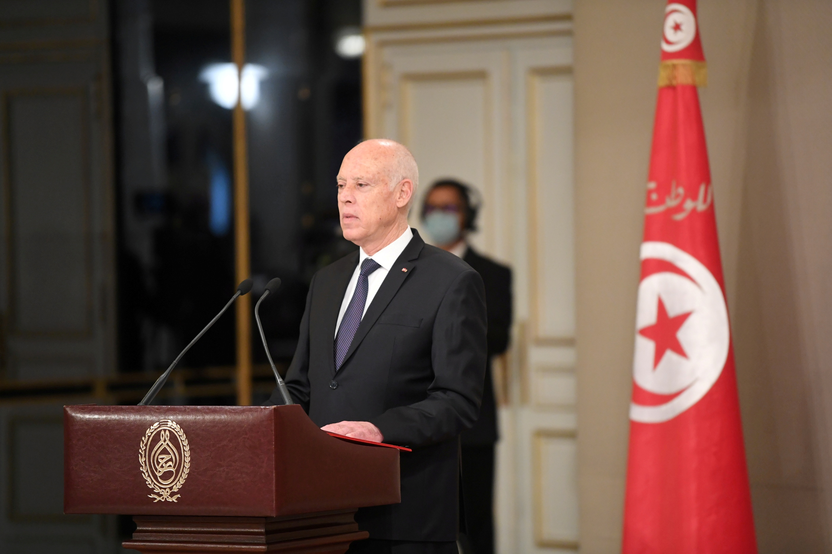 Tunisia's President Kais Saied speaks during the country's new government swearing-in ceremony, in Tunis, Tunisia October 11, 2021. Tunisian Presidency/Handout via REUTERS