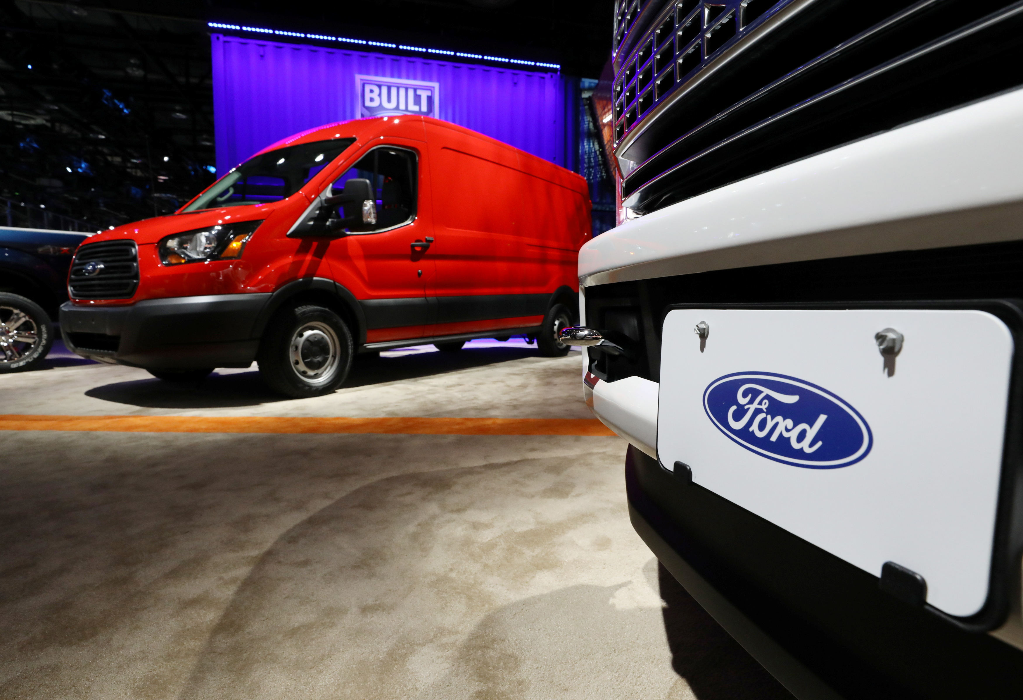 Ford truck models are displayed at the North American International Auto Show in Detroit, Michigan, U.S., January 15, 2019. REUTERS/Brendan McDermid/File Photo