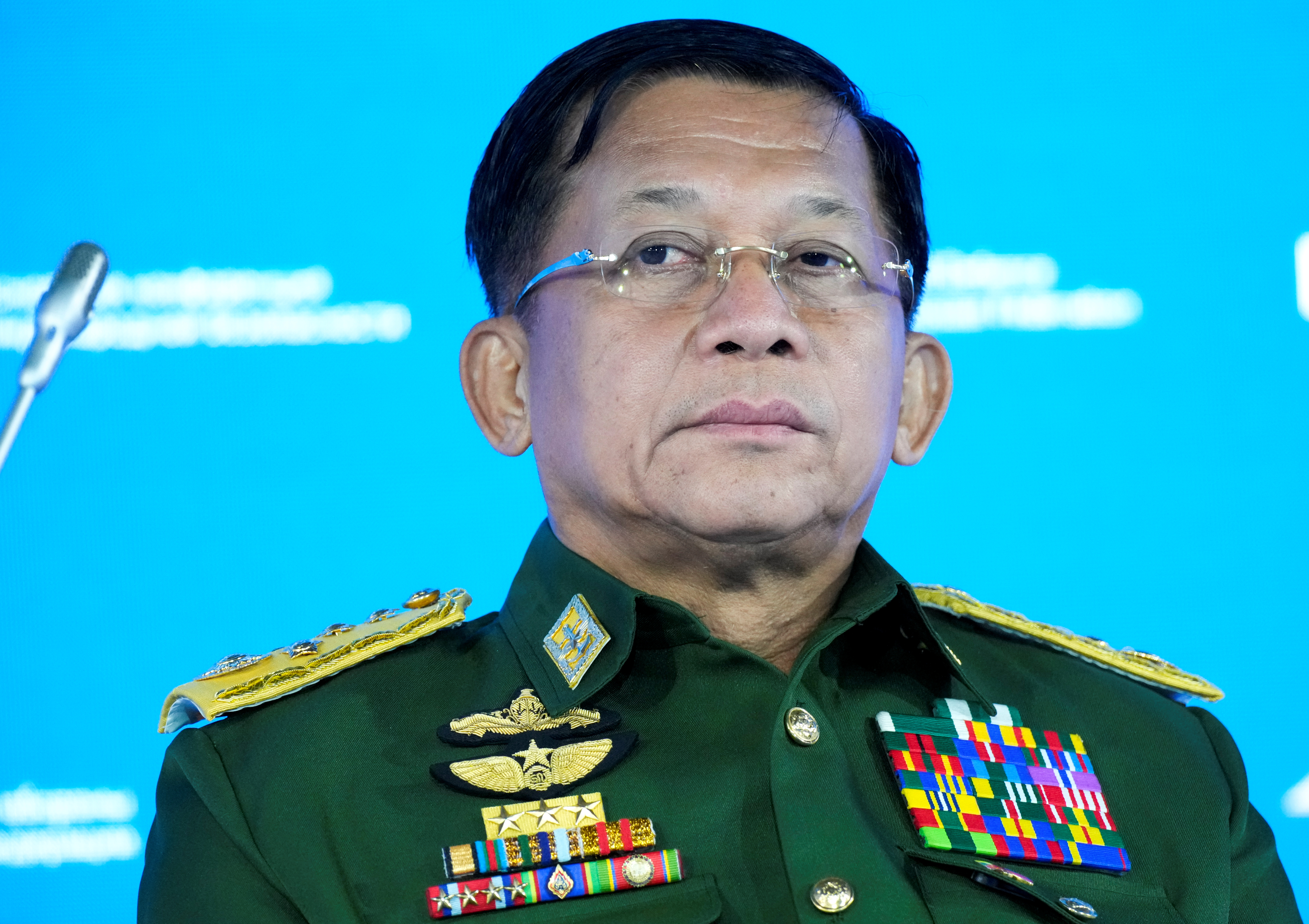 Commander-in-Chief of Myanmar's armed forces, Senior General Min Aung Hlaing attends the IX Moscow conference on international security in Moscow, Russia June 23, 2021. Alexander Zemlianichenko/Pool via REUTERS