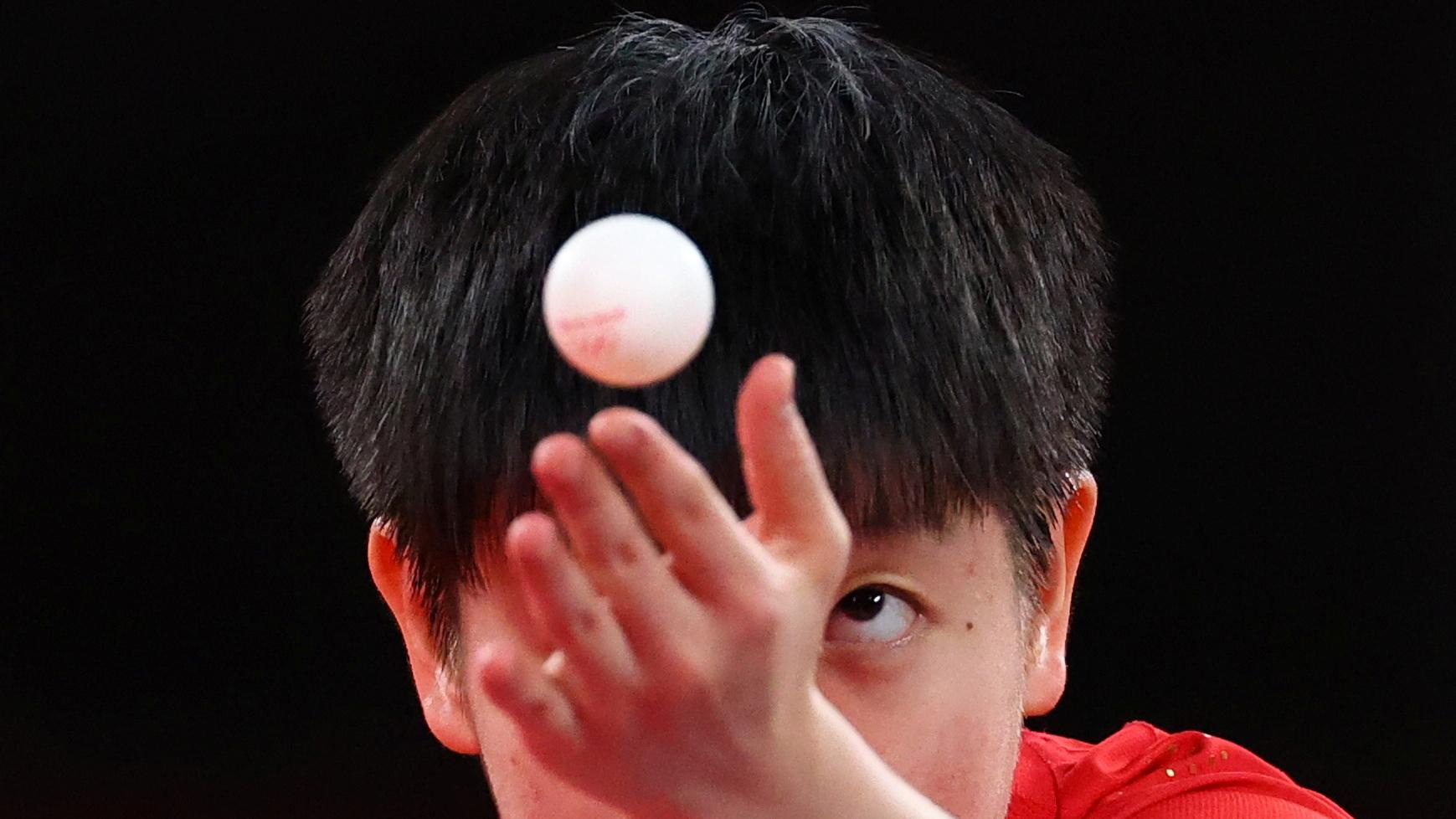 Tokyo 2020 Olympics - Table Tennis - Women's Team - Semifinal - Tokyo Metropolitan Gymnasium - Tokyo, Japan - August 4, 2021. Sun Yingsha of China in action against Ying Han of Germany. REUTERS/Thomas Peter - RC22YO9HC2QK
