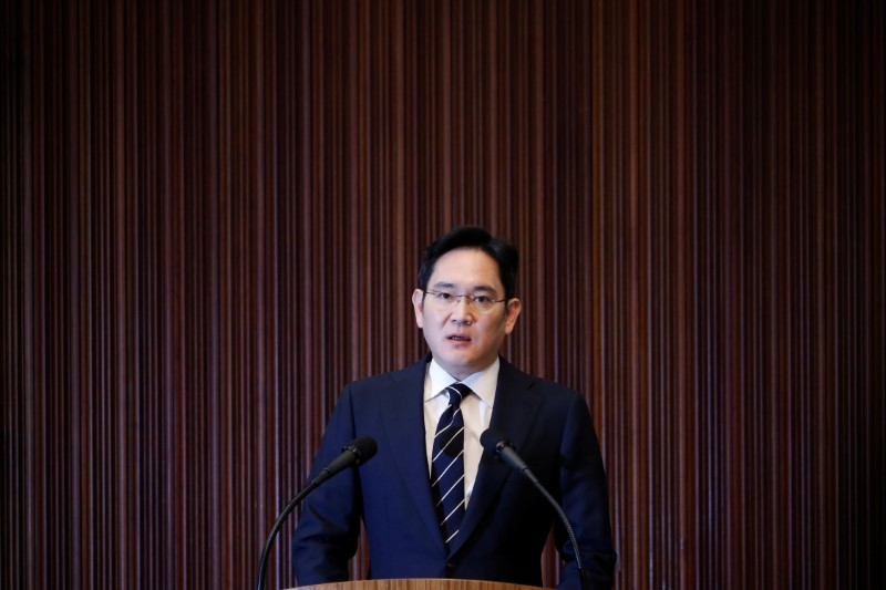 Samsung Electronics Vice Chairman, Jay Y. Lee, speaks during a news conference at a company's office building in Seoul, South Korea, May 6, 2020.  REUTERS/Kim Hong-Ji/Pool