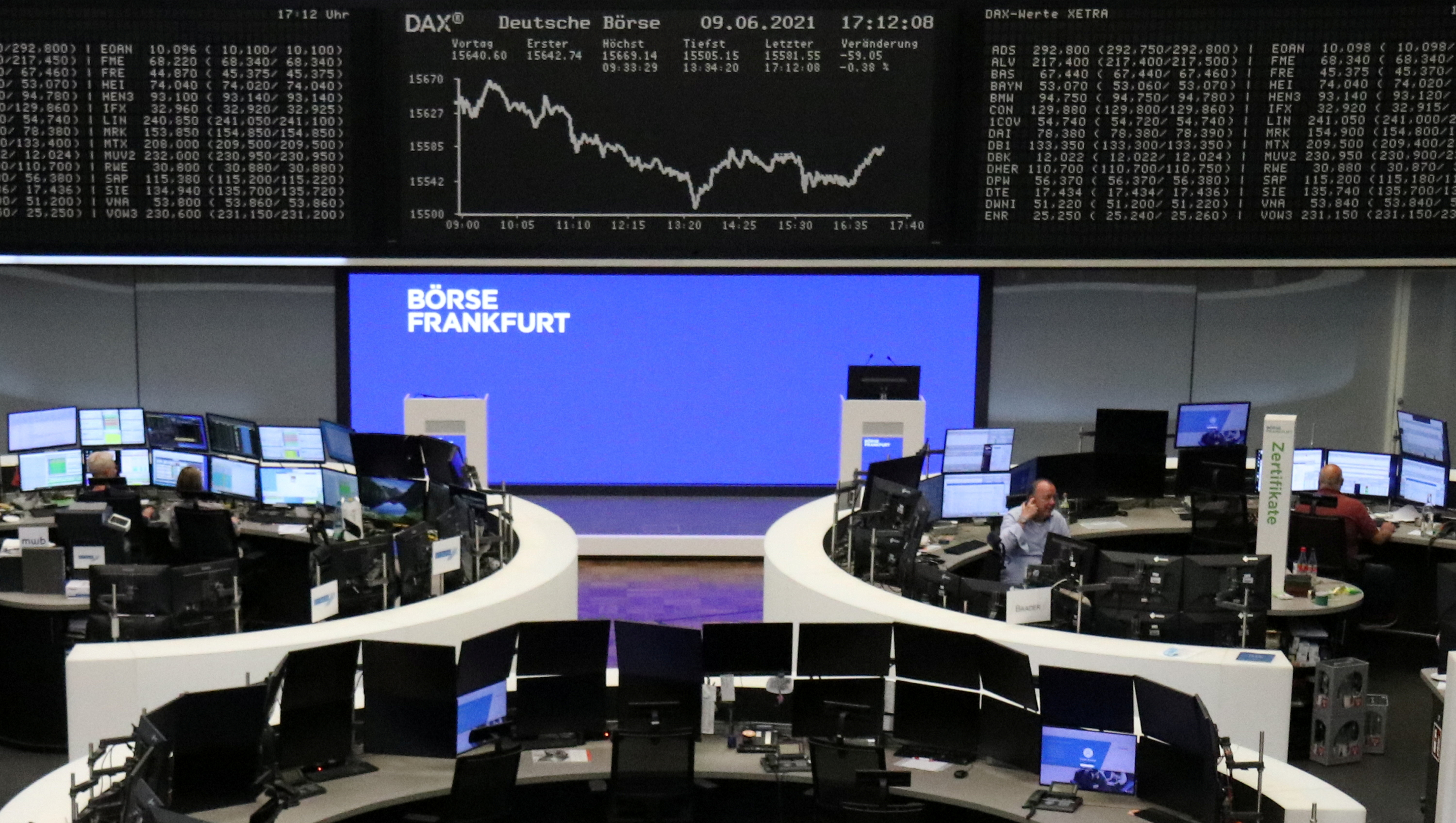 The German share price index DAX graph is pictured at the stock exchange in Frankfurt, Germany, June 9, 2021.    REUTERS/Staff/File photo