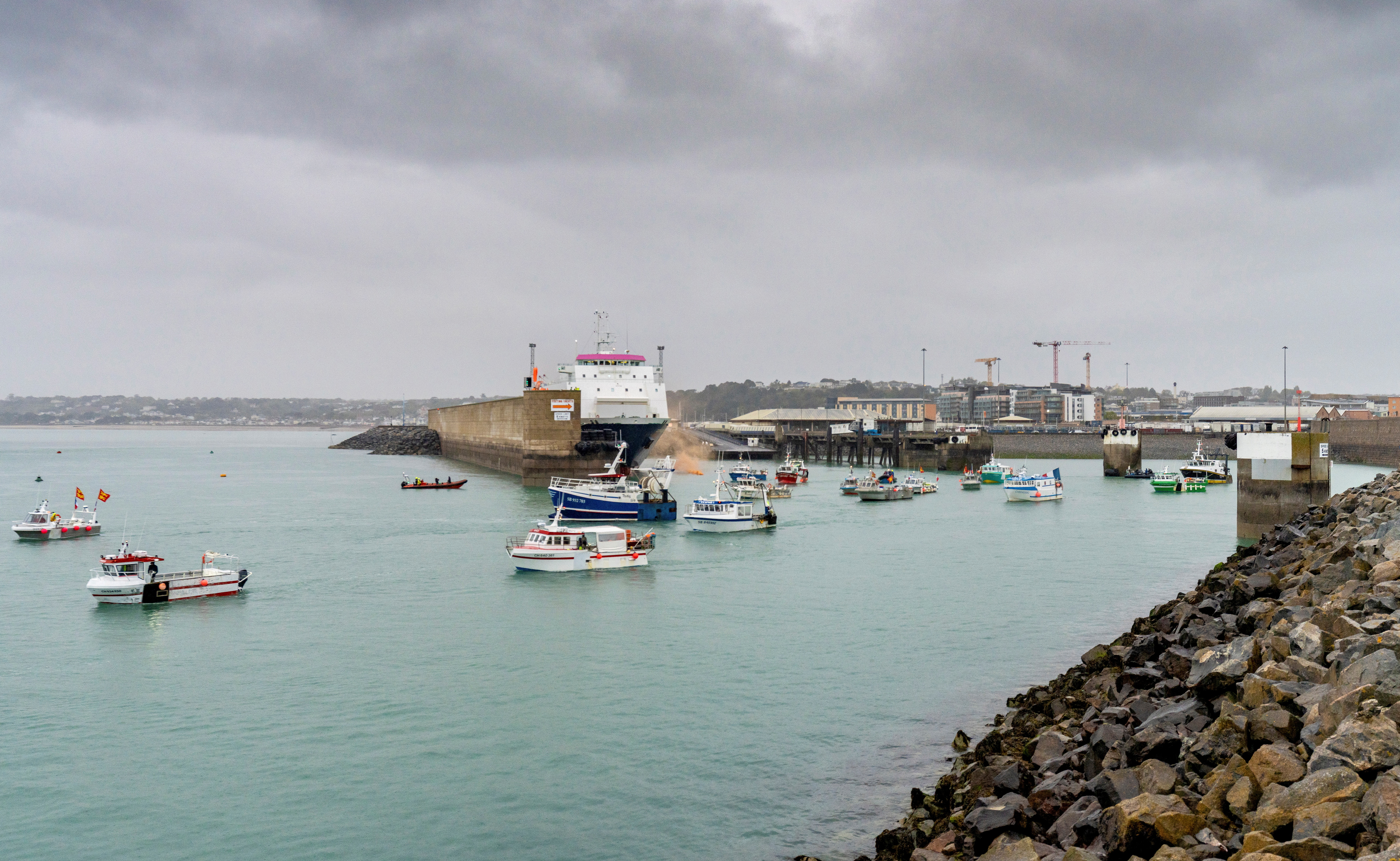French fishing fleet is seen at the entrance to the harbour in St Helier, Jersey, May 6, 2021. Marc Le Cornu/via REUTERS