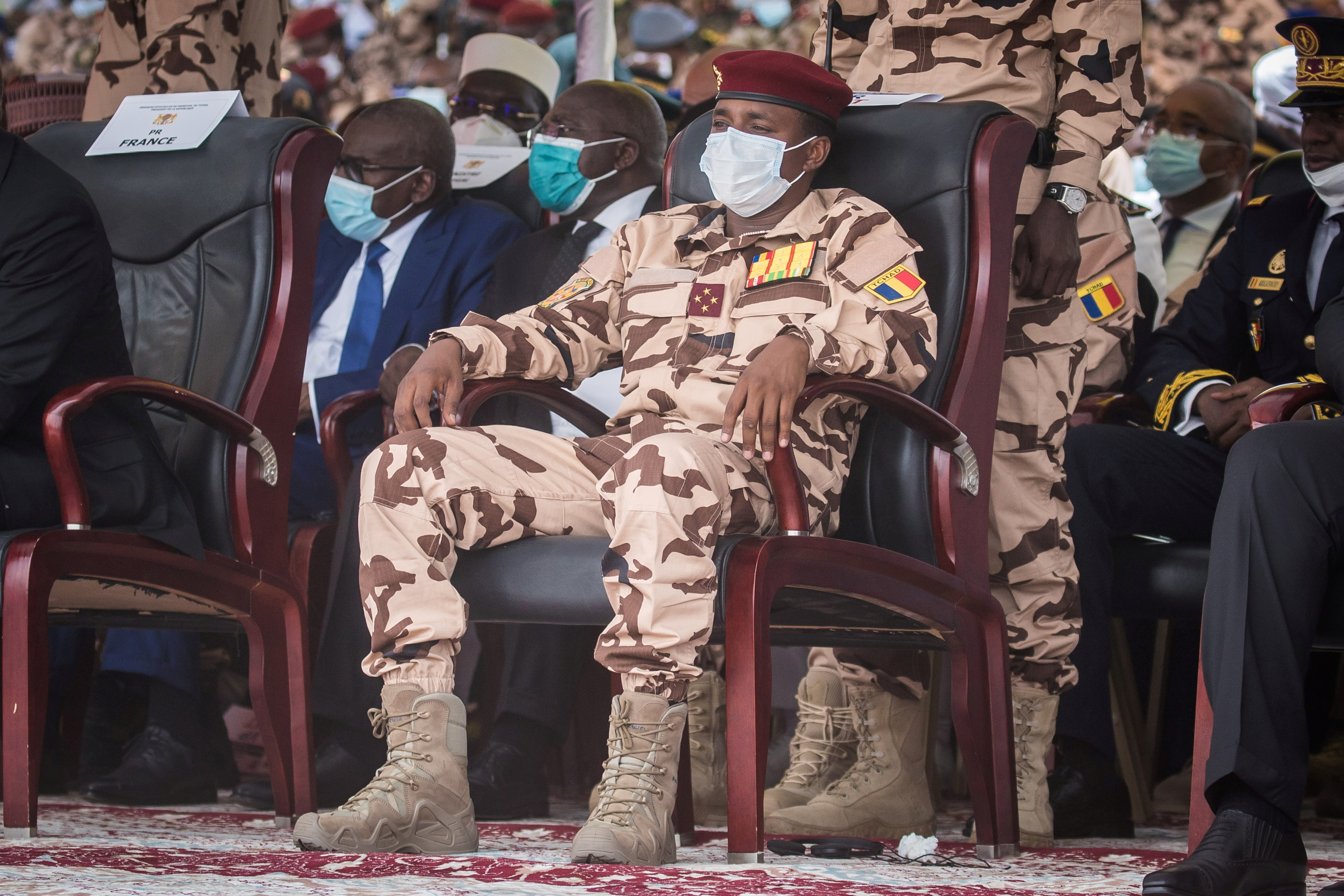 Mahamat Idriss Deby, son of late Chadian President Idriss Deby, attends his father's state funeral in N'Djamena, Chad, April 23, 2021. Christophe Petit Tesson/Pool via REUTERS/File Photo