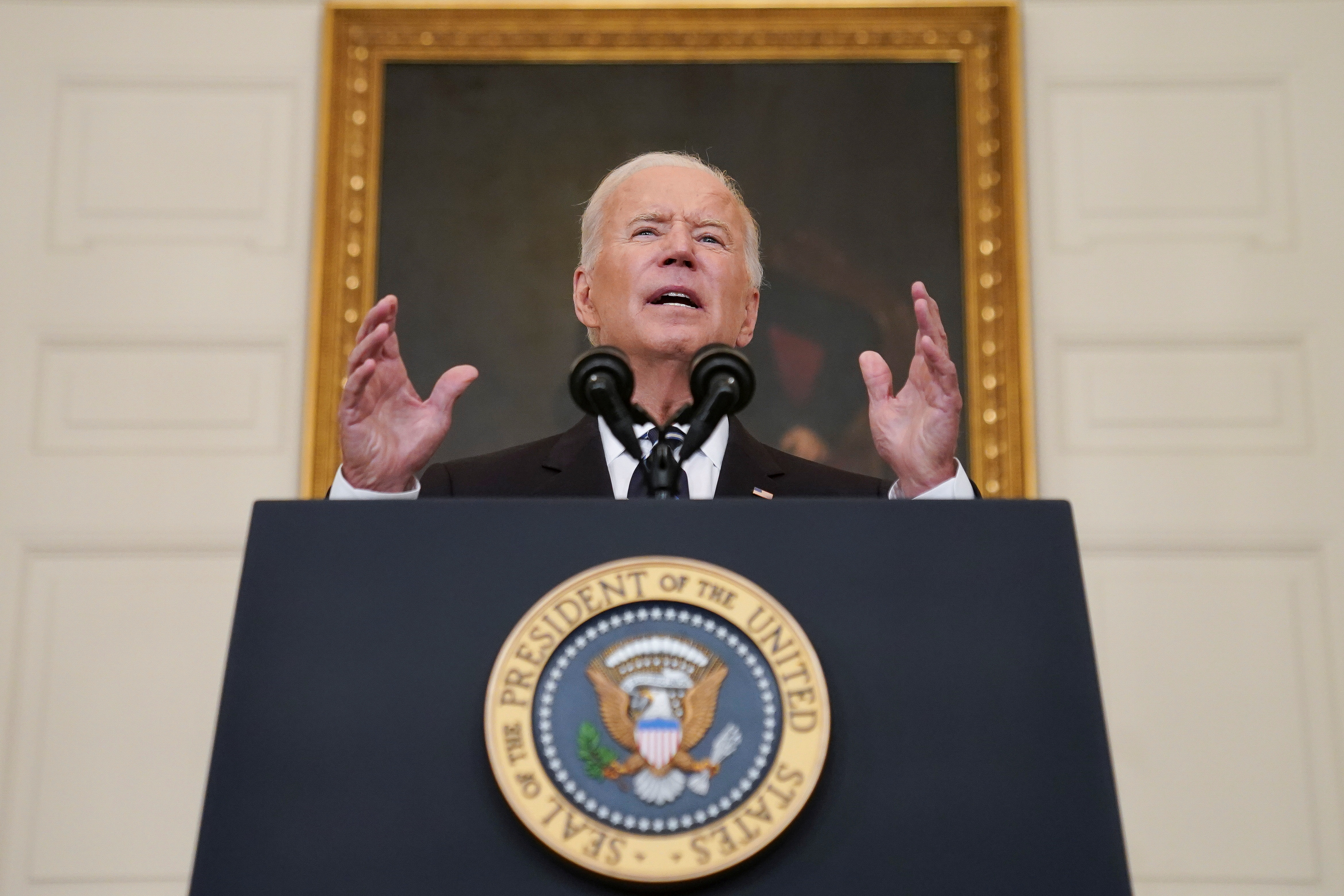 U.S. President Joe Biden delivers remarks on the Delta variant and his administration's efforts to increase vaccinations, from the State Dining Room of the White House in Washington, U.S., September 9, 2021. REUTERS/Kevin Lamarque