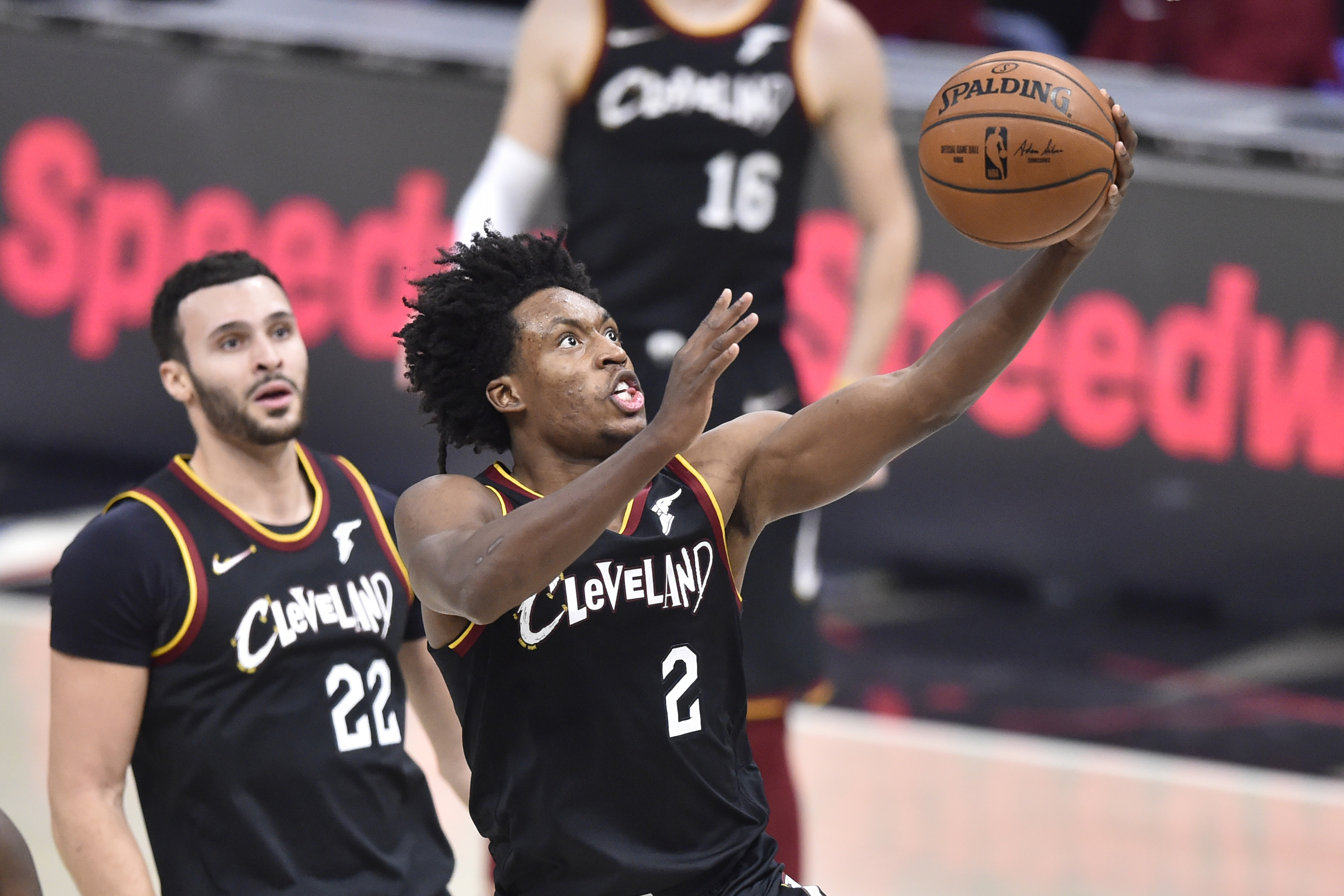 Jan 20, 2021; Cleveland, Ohio, USA; Cleveland Cavaliers guard Collin Sexton (2) drives to the basket in the third quarter against the Brooklyn Nets at Rocket Mortgage FieldHouse. Mandatory Credit: David Richard-USA TODAY Sports