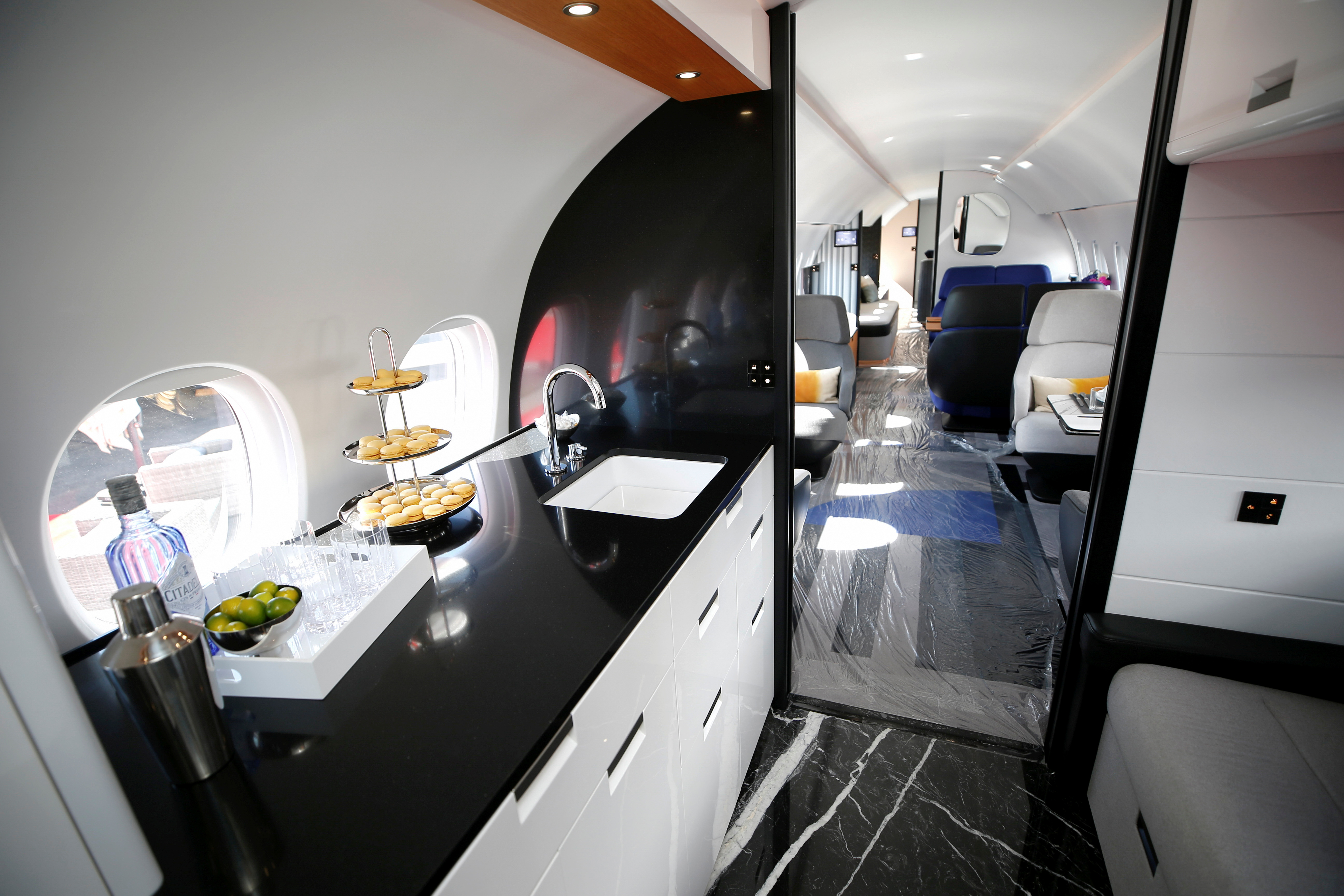 An interior view is shown in a mock-up of a Dassault Aviation Falcon 10X business jet at the Henderson Executive Airport during the NBAA Business Aviation Convention & Exhibition in Henderson, Nevada, U.S., October 12, 2021.  REUTERS/Steve Marcus