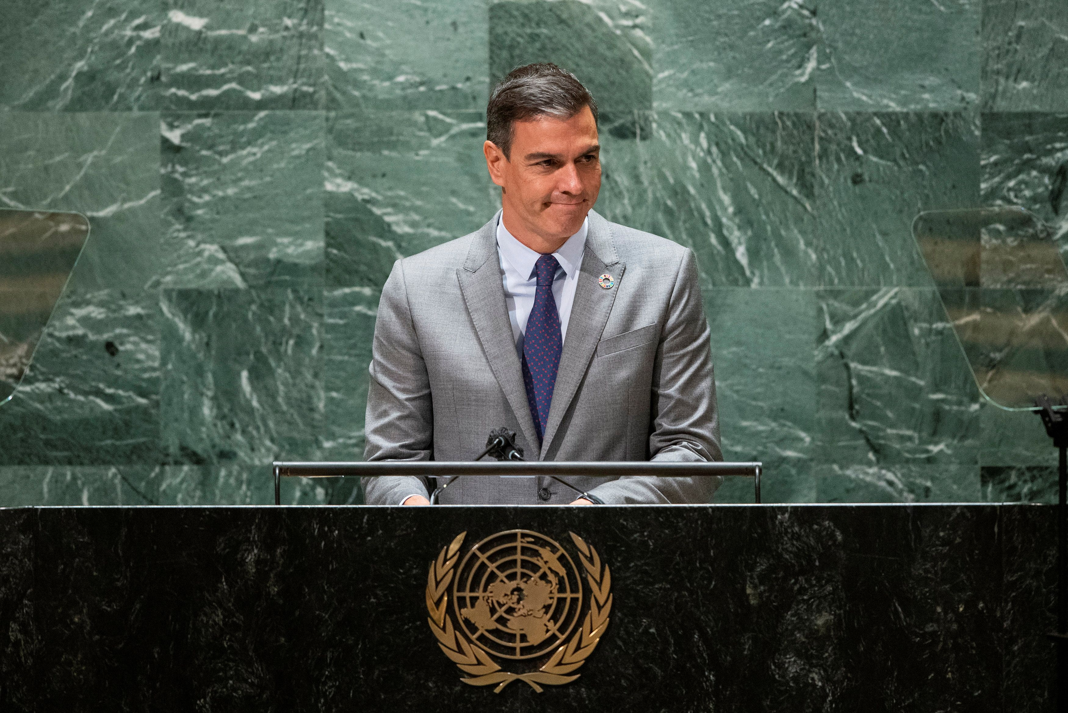 Spain's Prime Minister Pedro Sanchez addresses the 76th Session of the U.N. General Assembly in New York City, U.S., September 22, 2021.  REUTERS/Eduardo Munoz/Pool