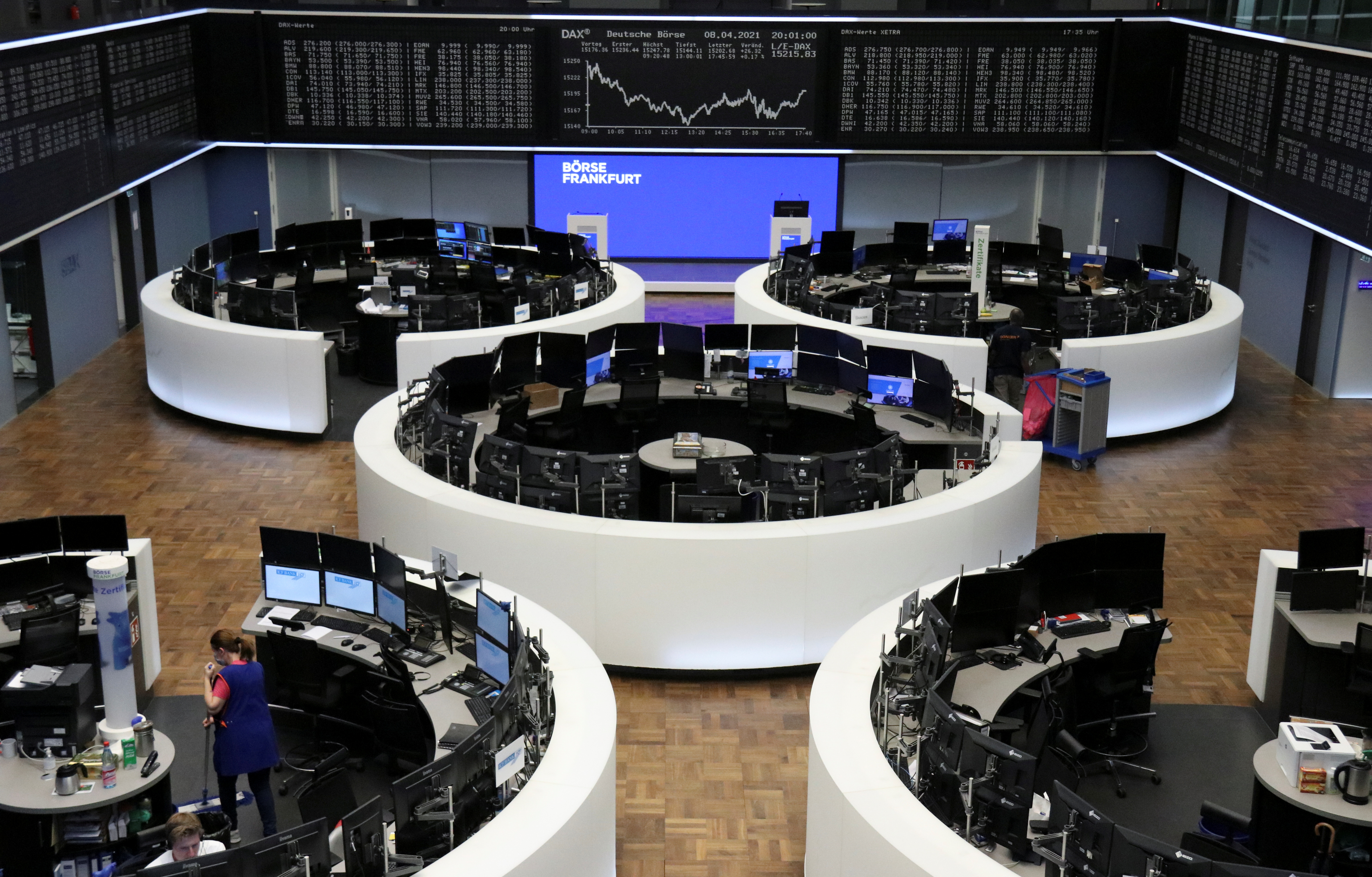 The German share price index DAX graph is pictured at the stock exchange in Frankfurt, Germany, April 8, 2021. REUTERS/Staff/Files