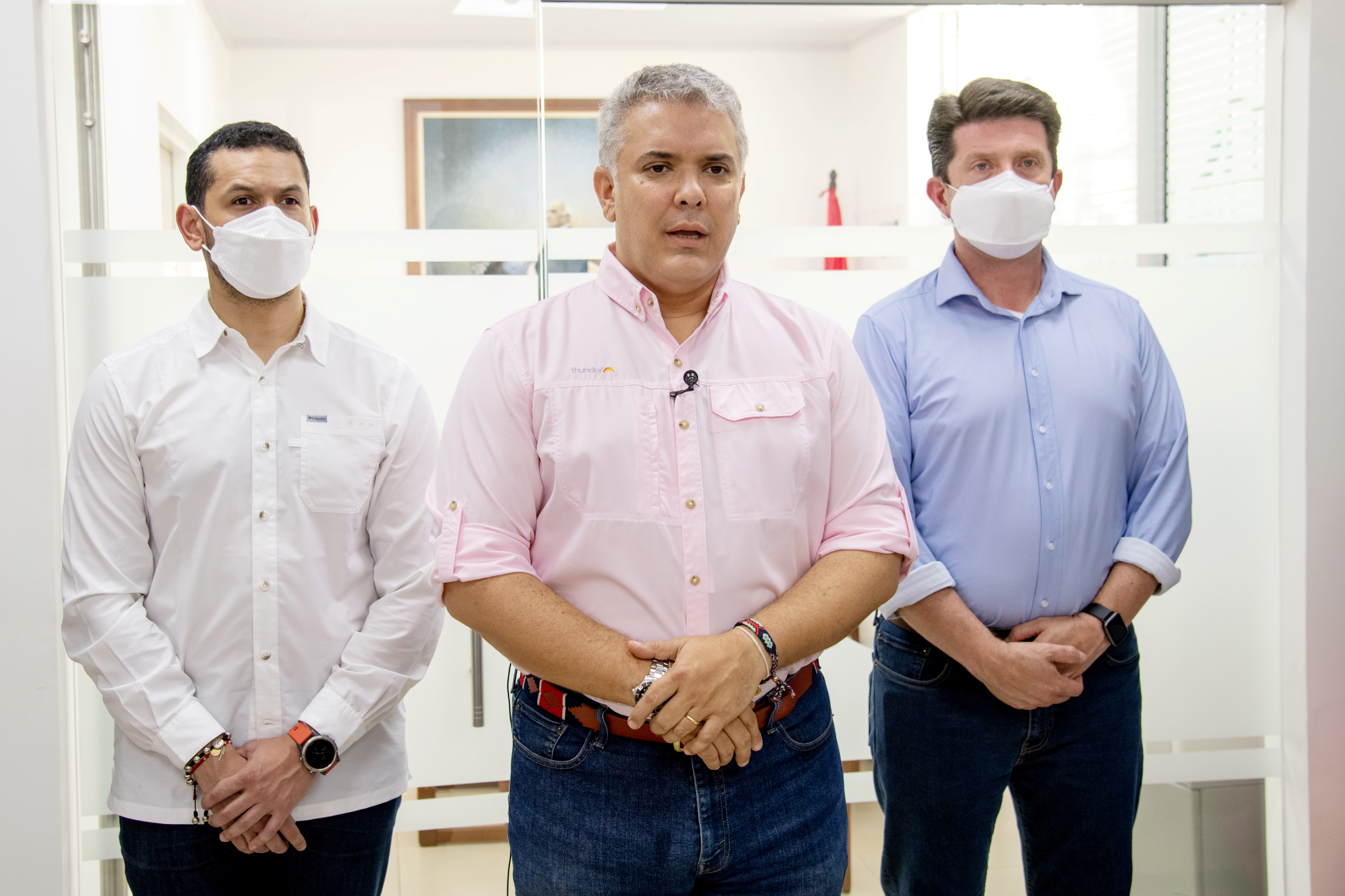 Colombia's President Ivan Duque gives a statement after an attack suffered by the helicopter he was travelling on, according to authorities, in Cucuta, Colombia June 25, 2021. Colombia Presidency/Handout via REUTERS
